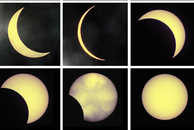 The last solar eclipse seen from the partial coverage of the sun to the full eclipse.