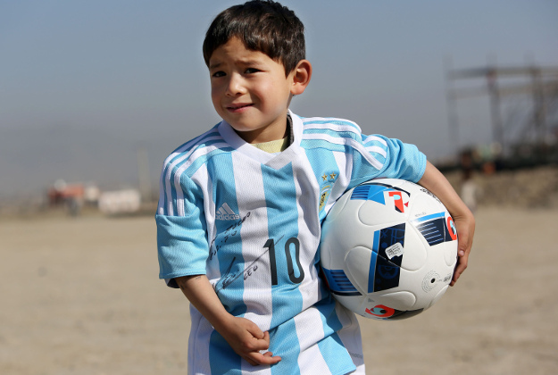 lionel messi sends real argentina football kit to afghan boy with f7ec7aa2d