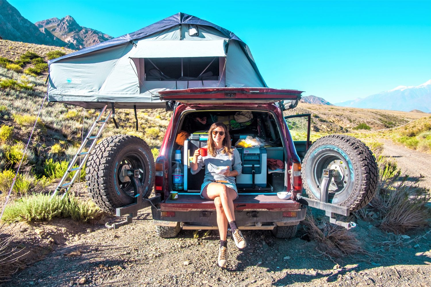 Sarah and Dimitri O have been travelling across South America on honeymoon in a 4x4 since November. Image: Caters News Agency