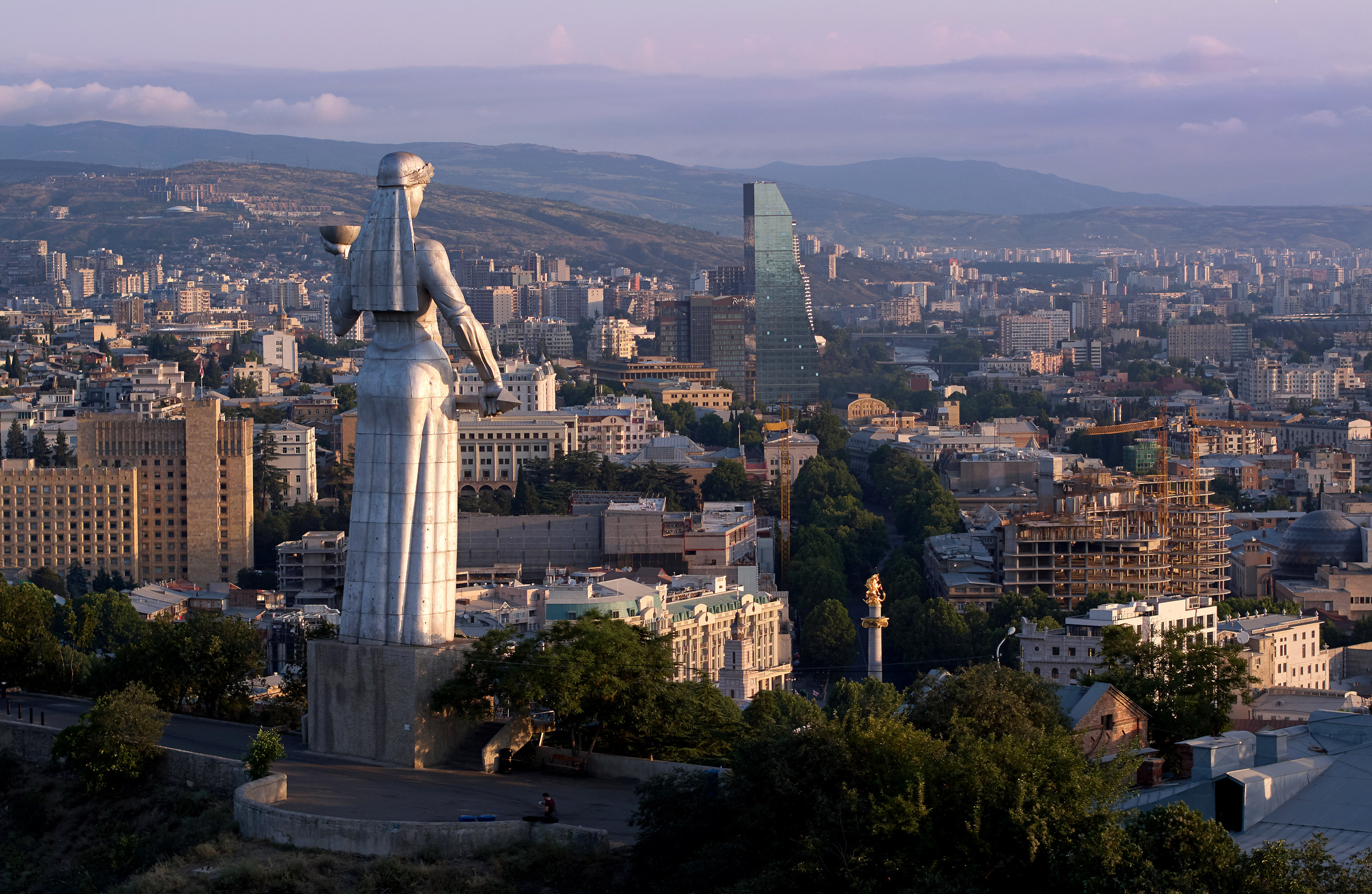 "The Kartlis Deda monument, informally known as ""Mother Georgia"" looking out over the capital city of Tbilisi."