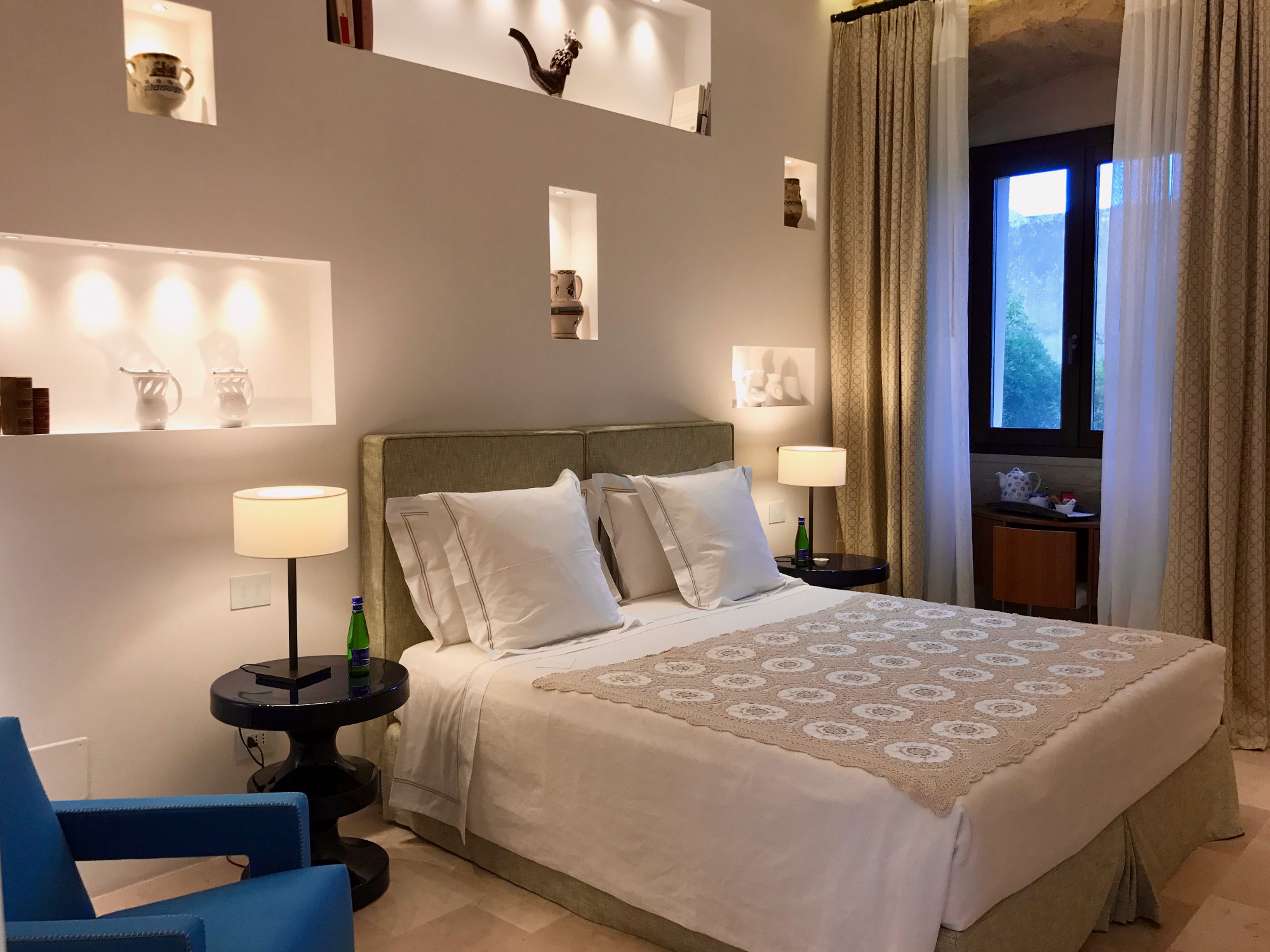 The accommodation boasts nine rooms and suites that have been curated with modern pieces from Italian designers.
