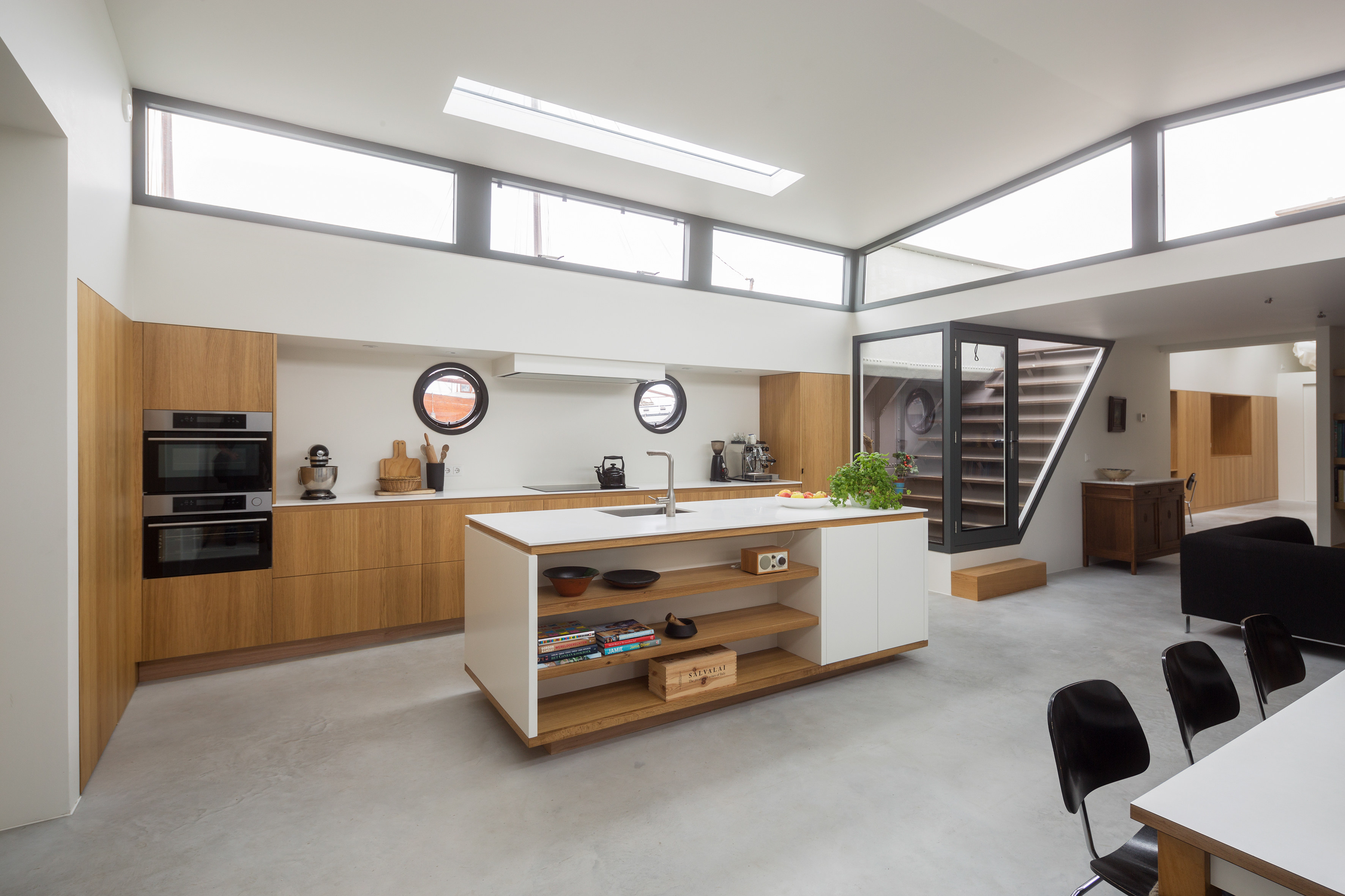 Kitchen and dining room area of the luxury houseboat
