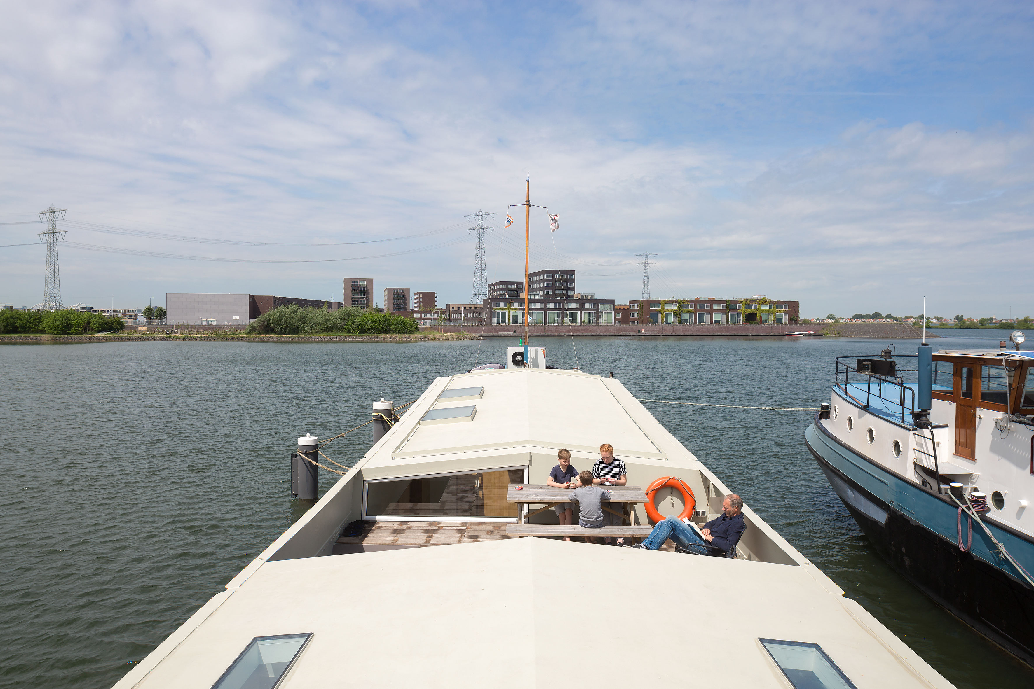Relaxing on board the converted cargo ship in Amsterdam