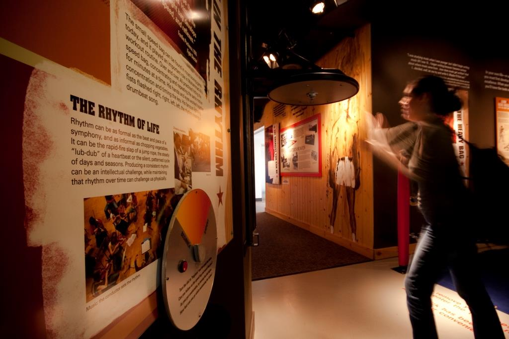 A visitor checks out the 'Train with Ali' area at the Muhammad Ali Center