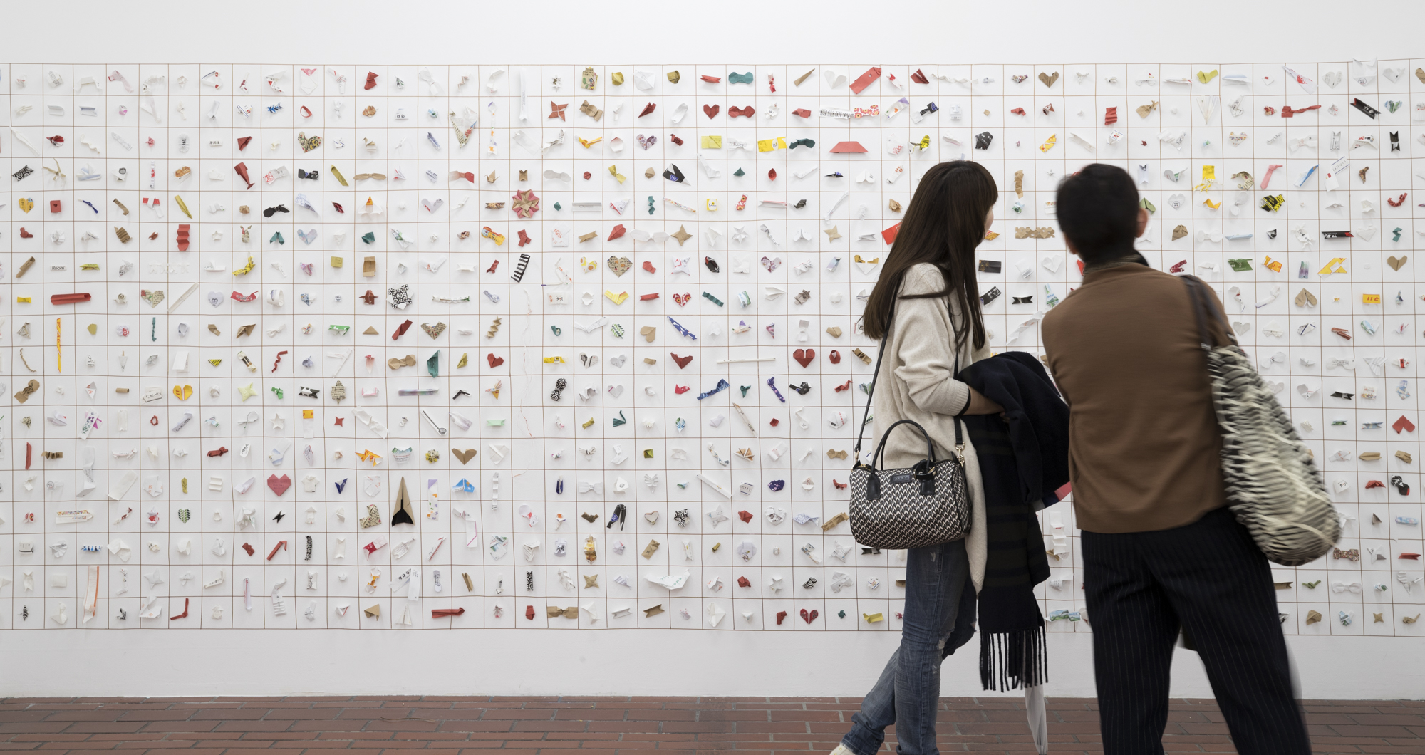 The Japanese Tip exhibition featuring thousands of chopstick wrappers.