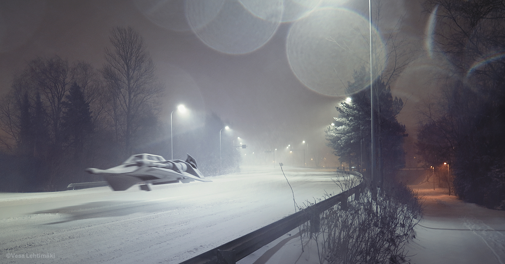 """""""A Day in Winter"""" saw Vesa shooting a road during a blizzard."""