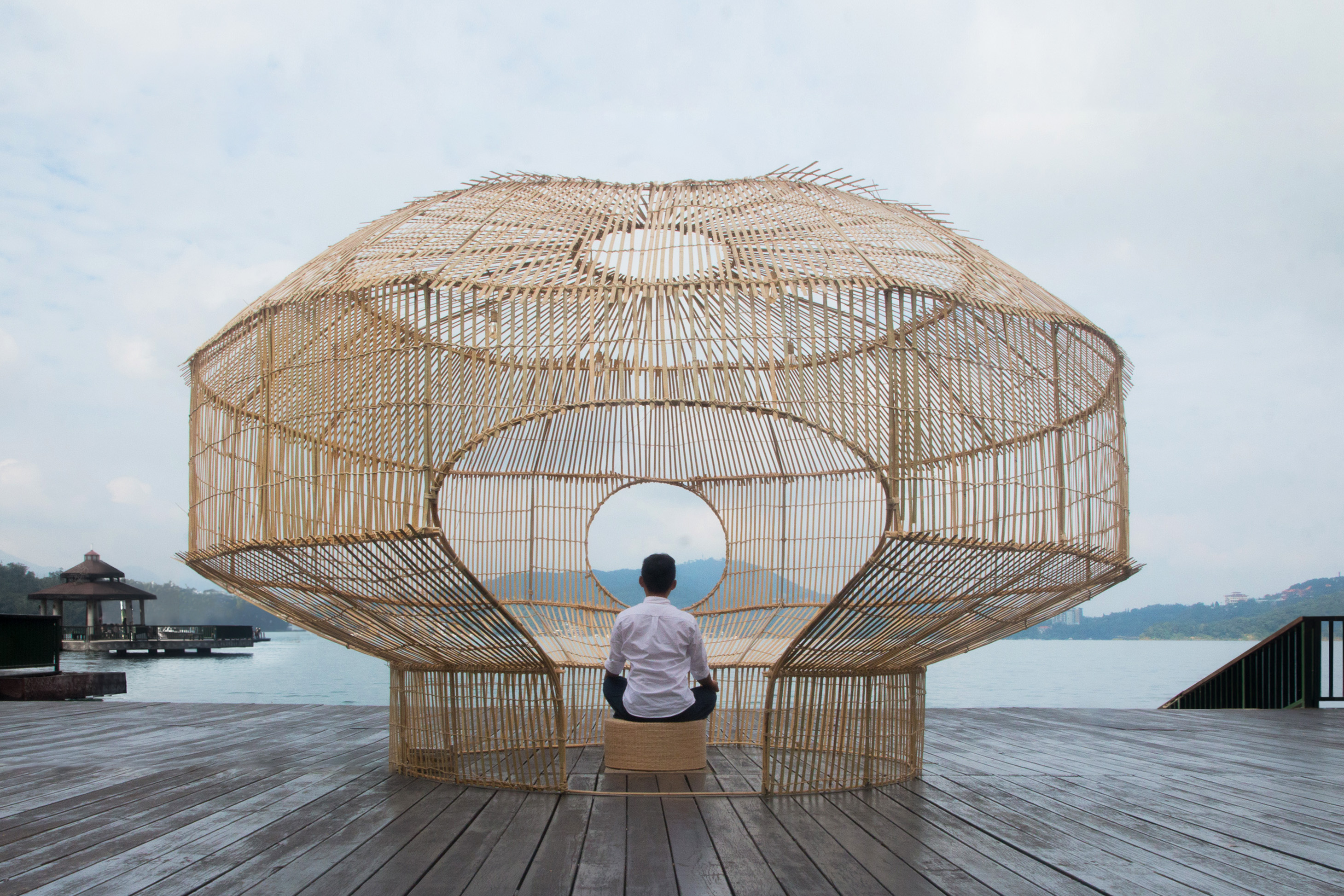 The completed Fish Trap House at Sun Moon Lake in Taiwan.