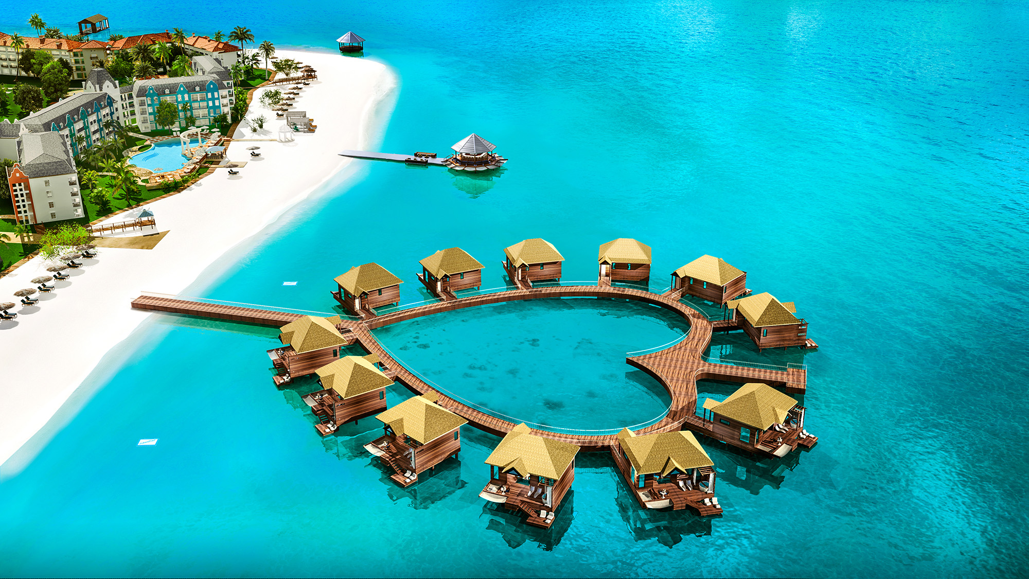 The bungalows have been constructed around a dock in the shape of a heart.