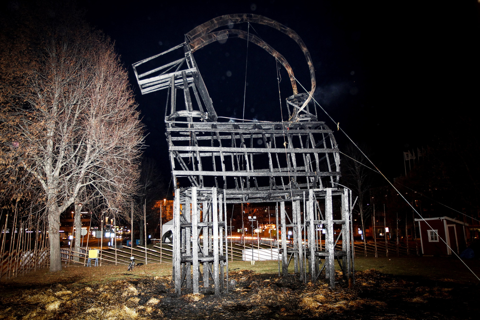 The remains of the Gavle Goat after the festivities in 2016