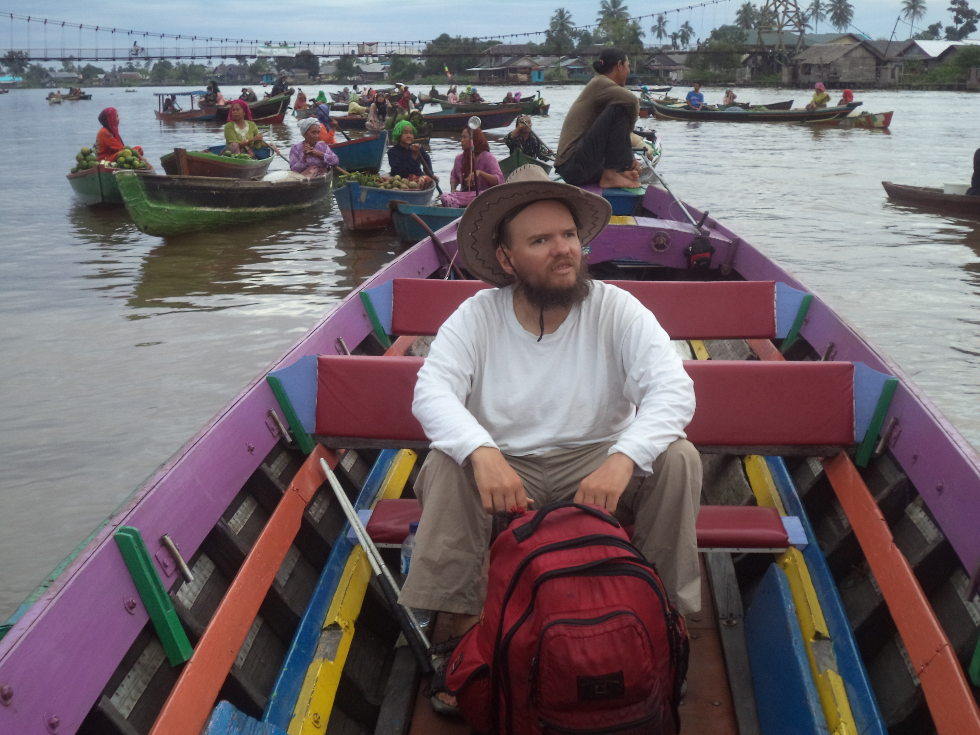Tony at the floating market in Banjarmasin in South Kalimantan, Indonesia.