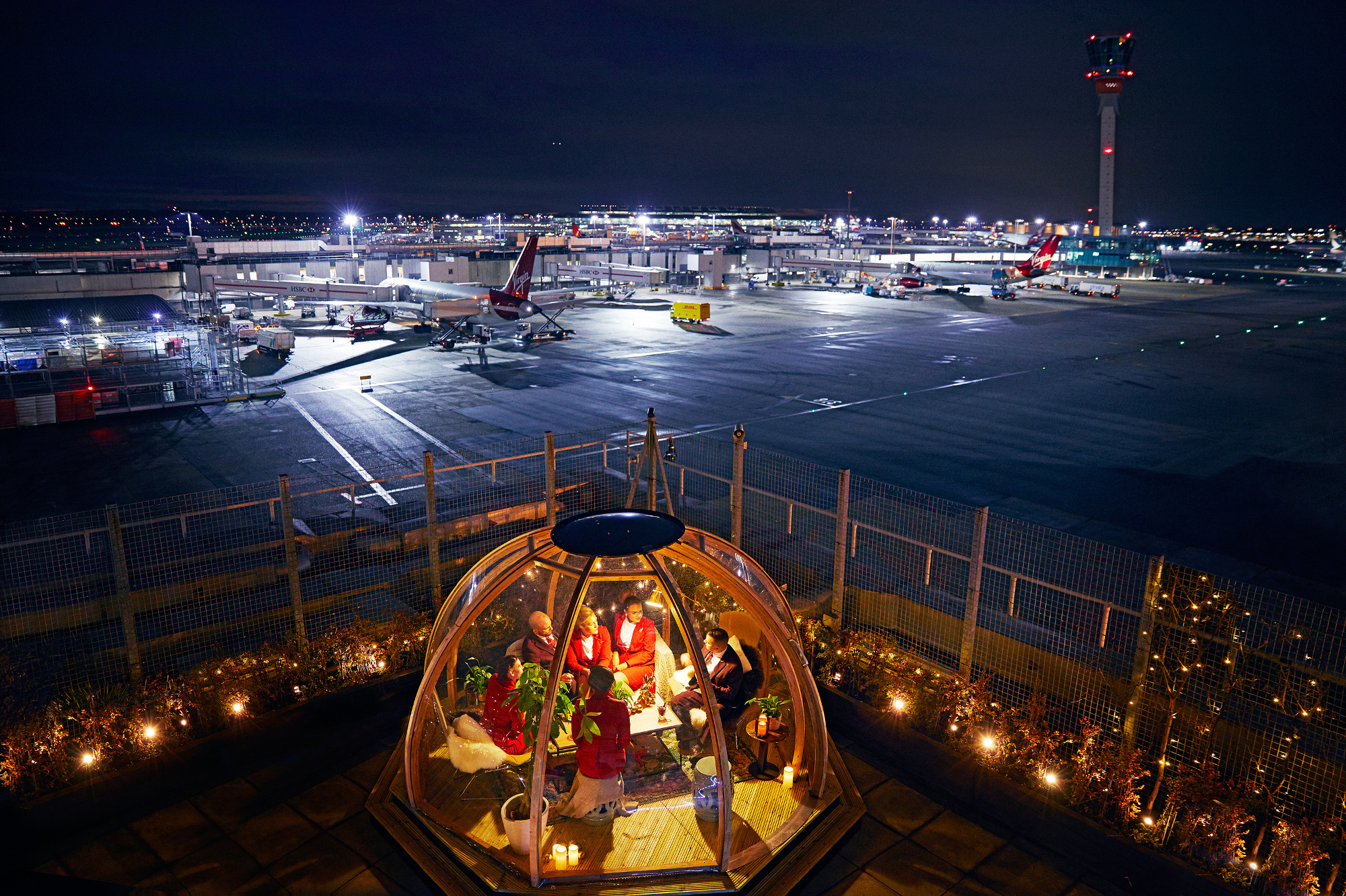 The Coppa Club igloo is on the roof of the terminal three Clubhouse in Heathrow.