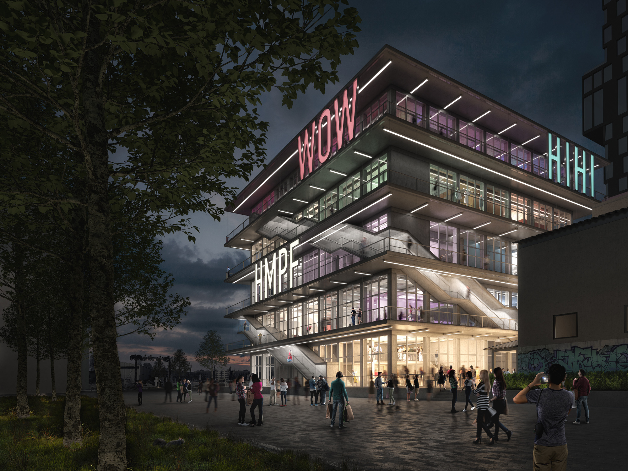 WERK12 will feature illuminated exclamations on the front of the building.