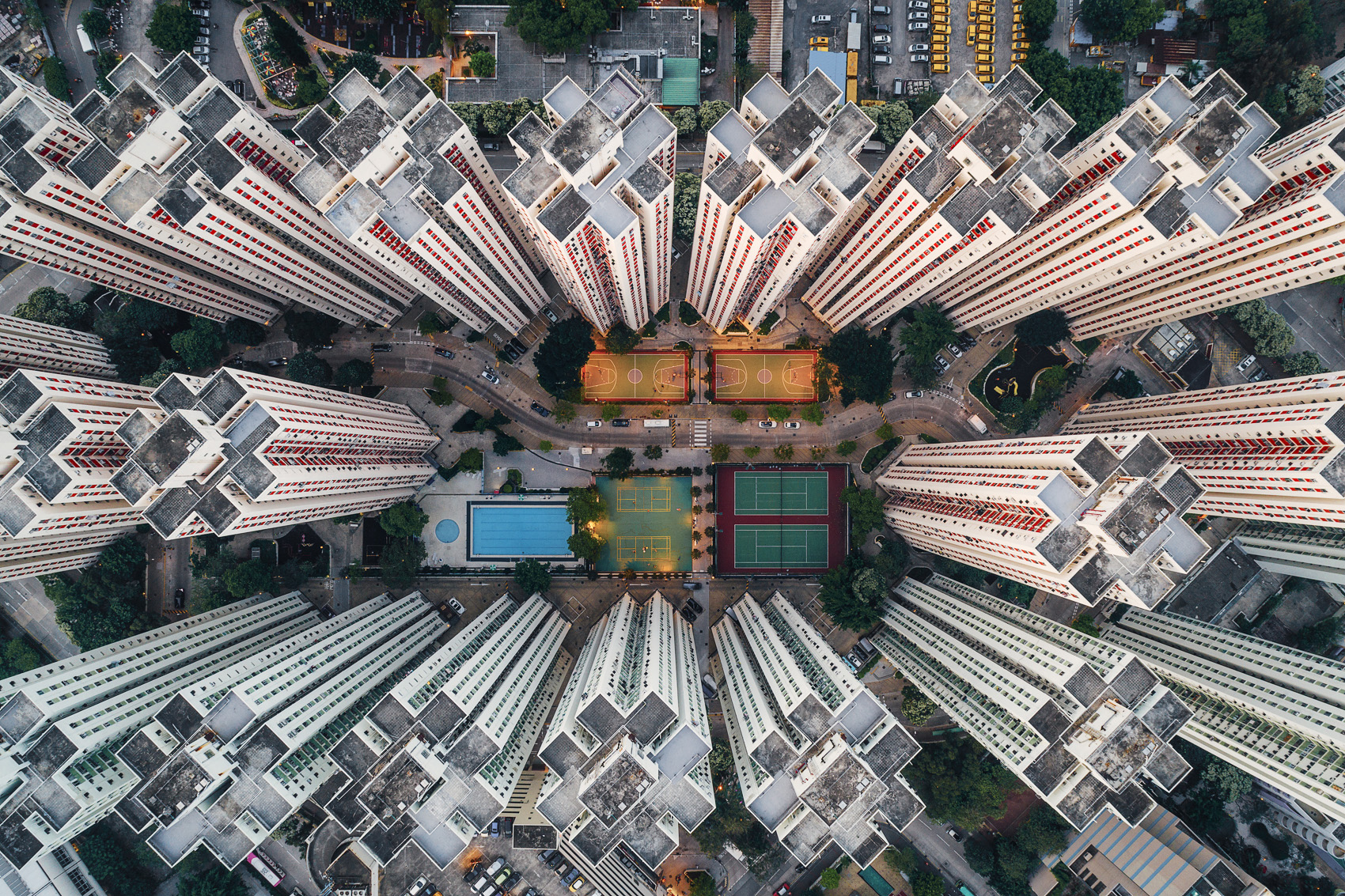 Hong Kong residential skyscrapers as seen from above