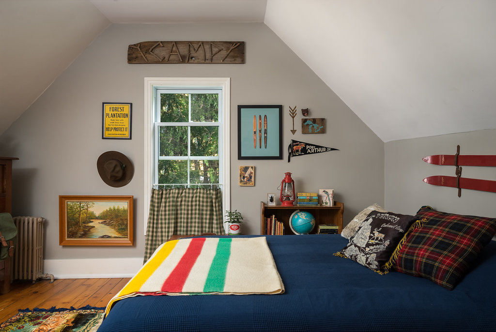 The Moonrise Kingdom inspired bedroom of the listing.