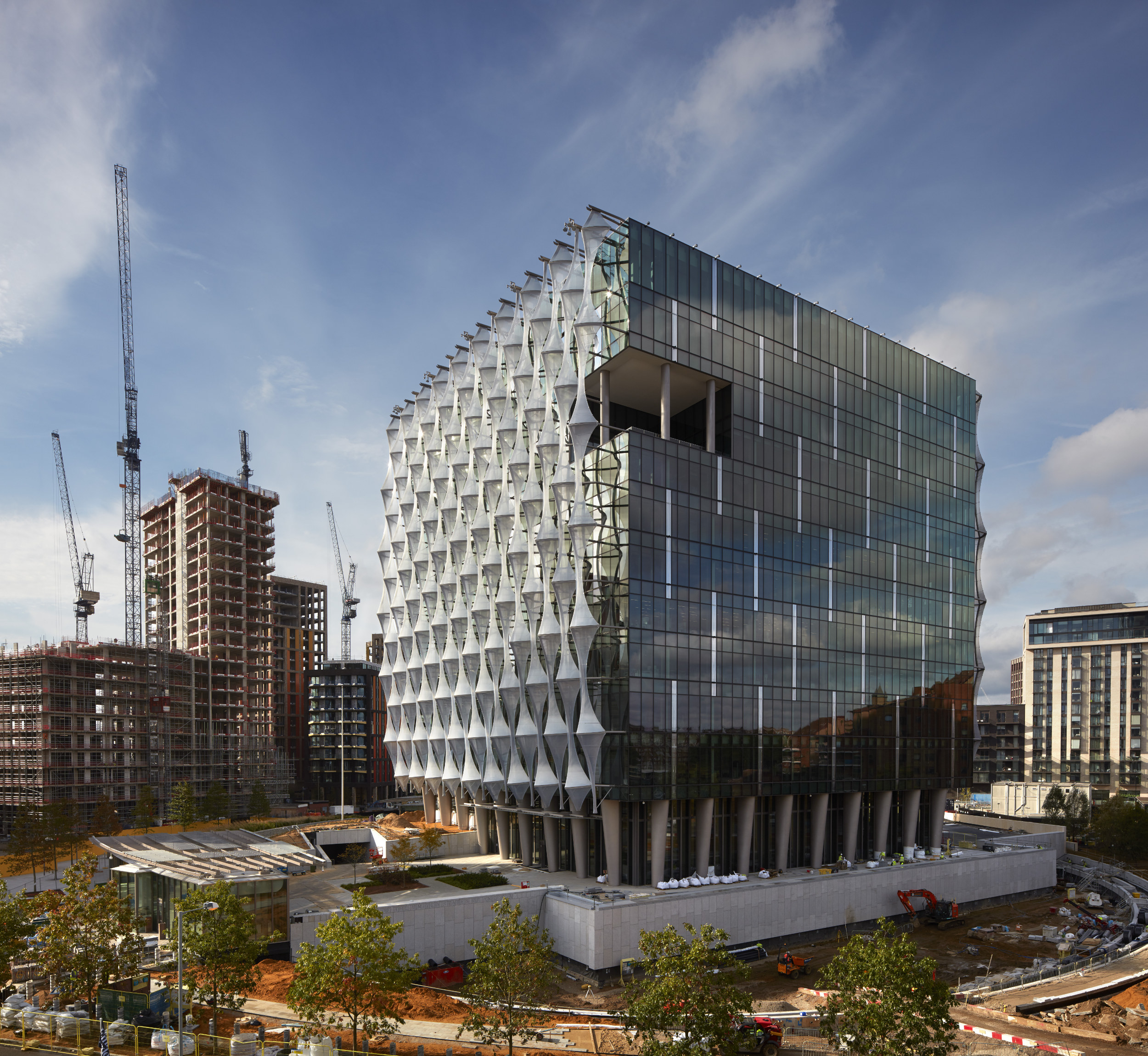The futuristic building has been designed to be energy efficient as well as secure.