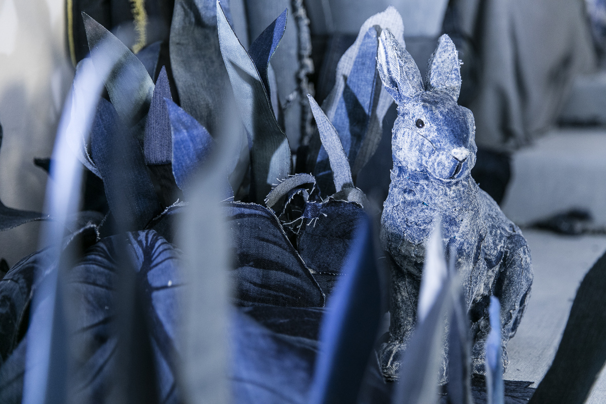 A hare made out of denim at The Secret Garden.