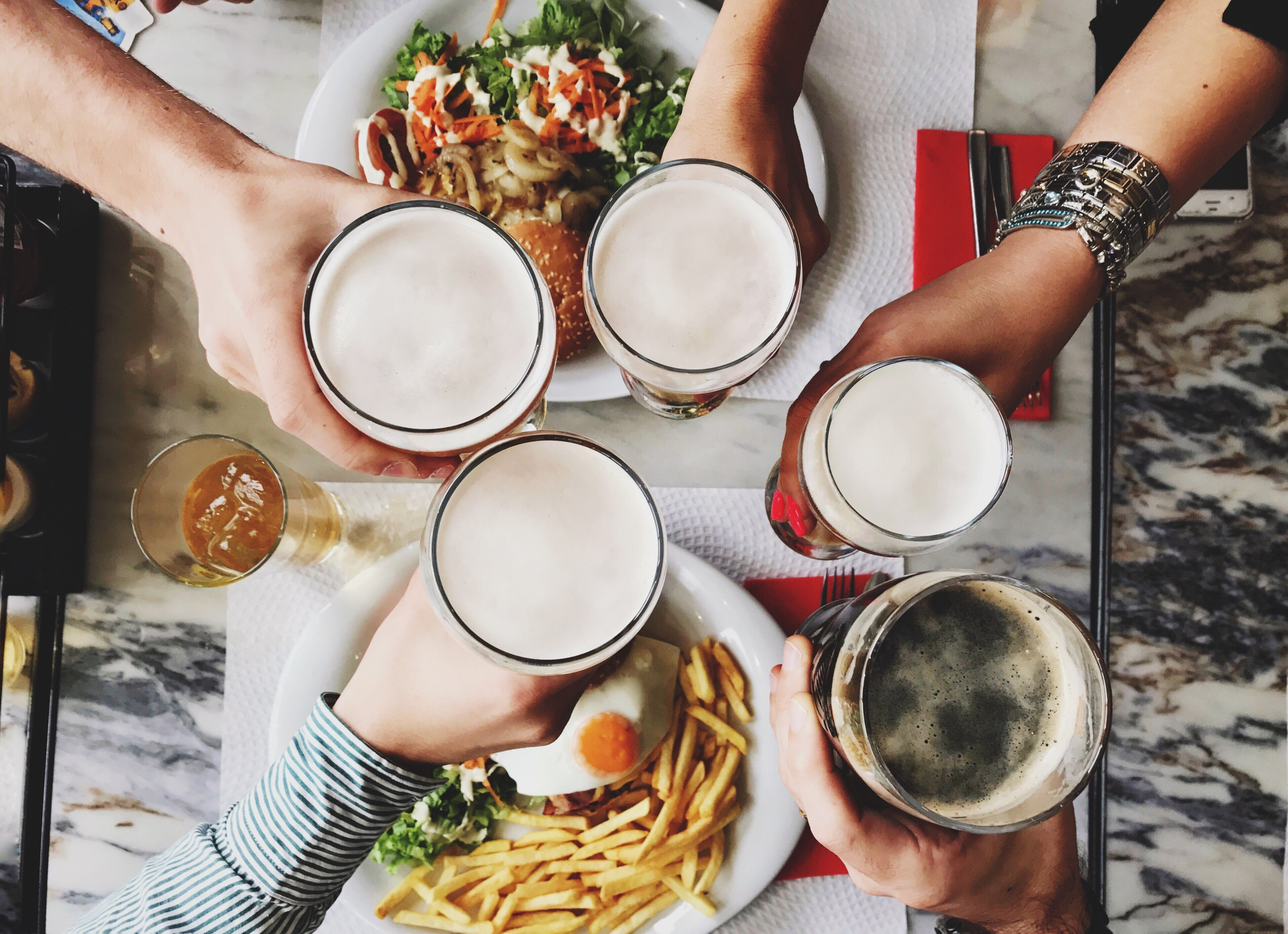 Drinks and food friends group in Lisbon Portugal beer