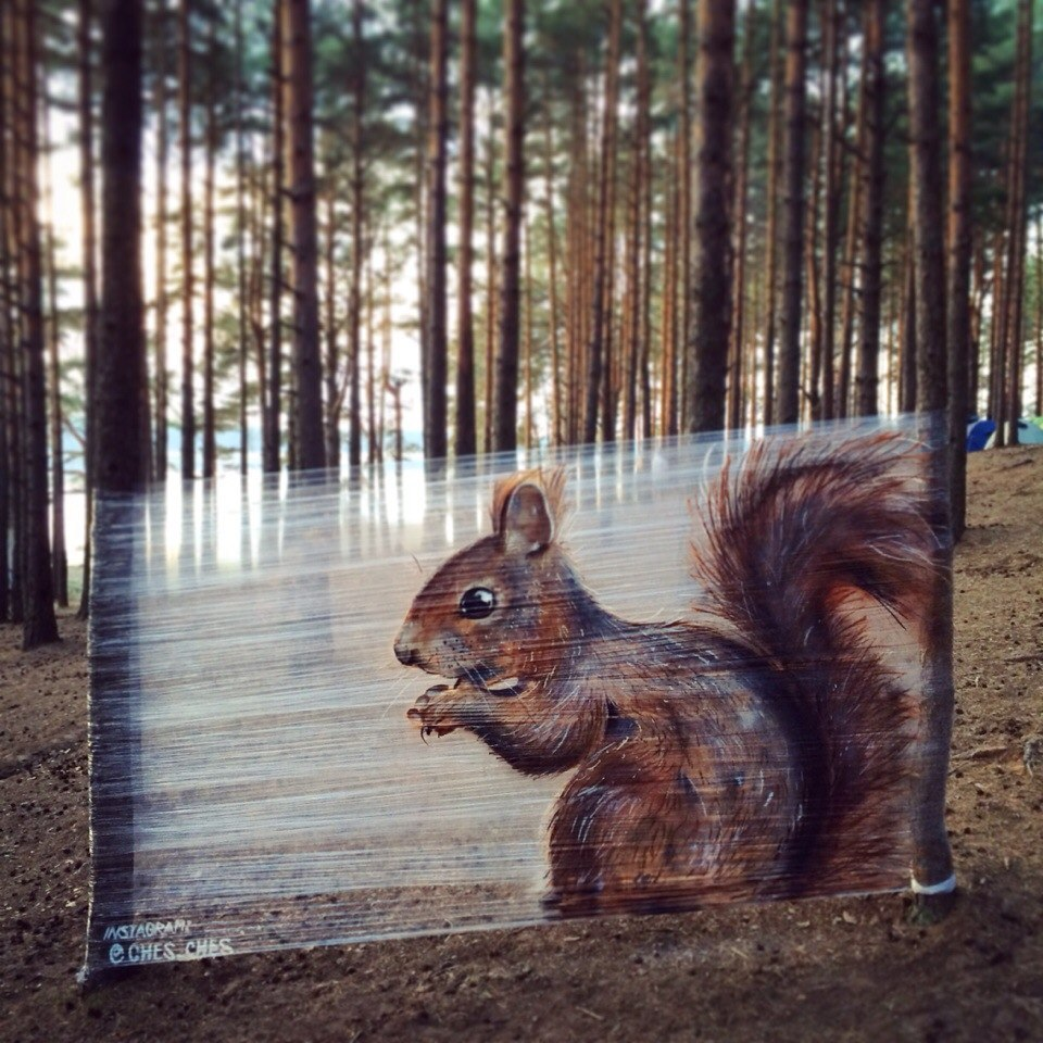 Evgeny's first shrink wrap piece was a squirrel.
