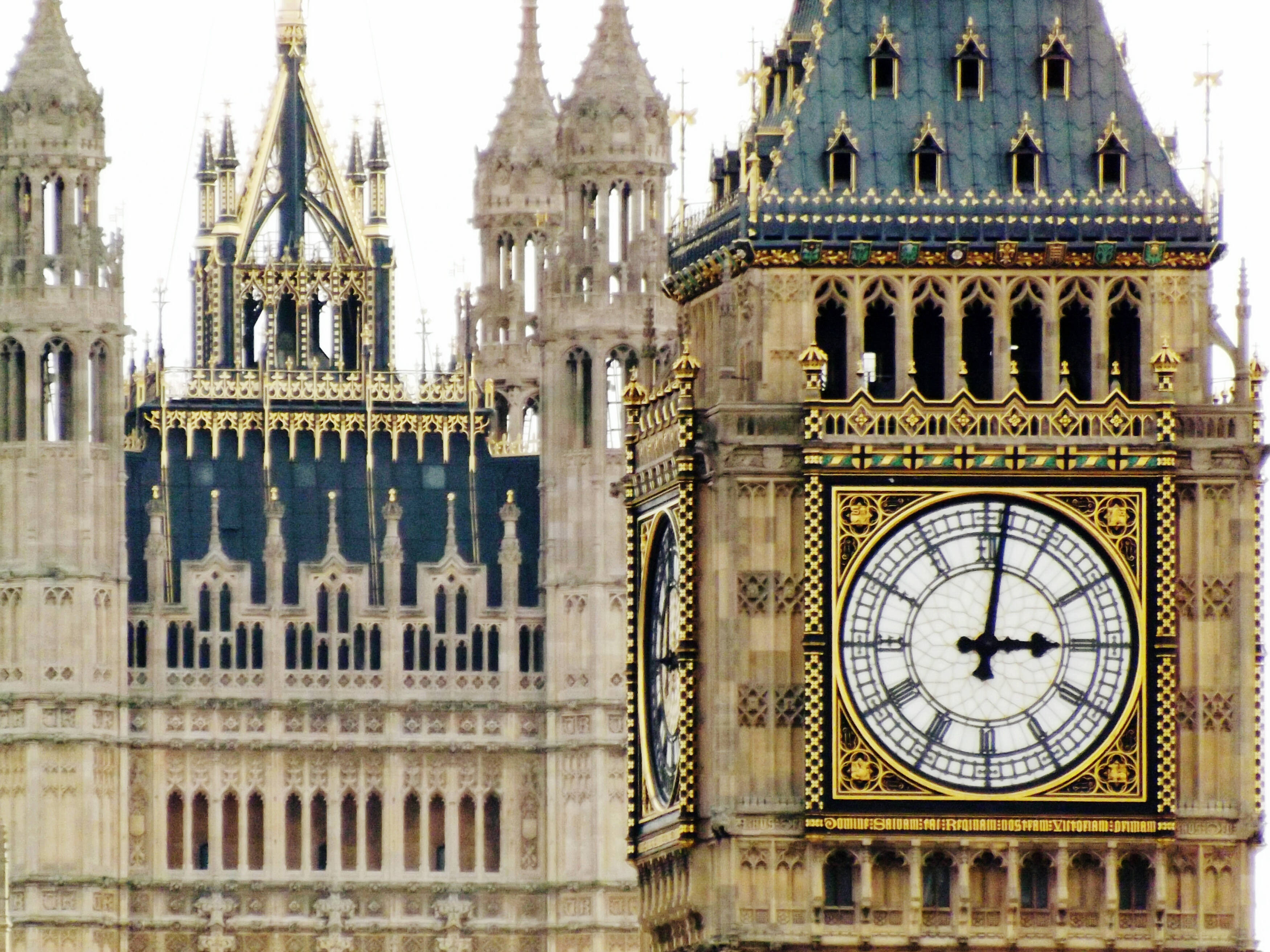 Close-up of Big Ben in London.