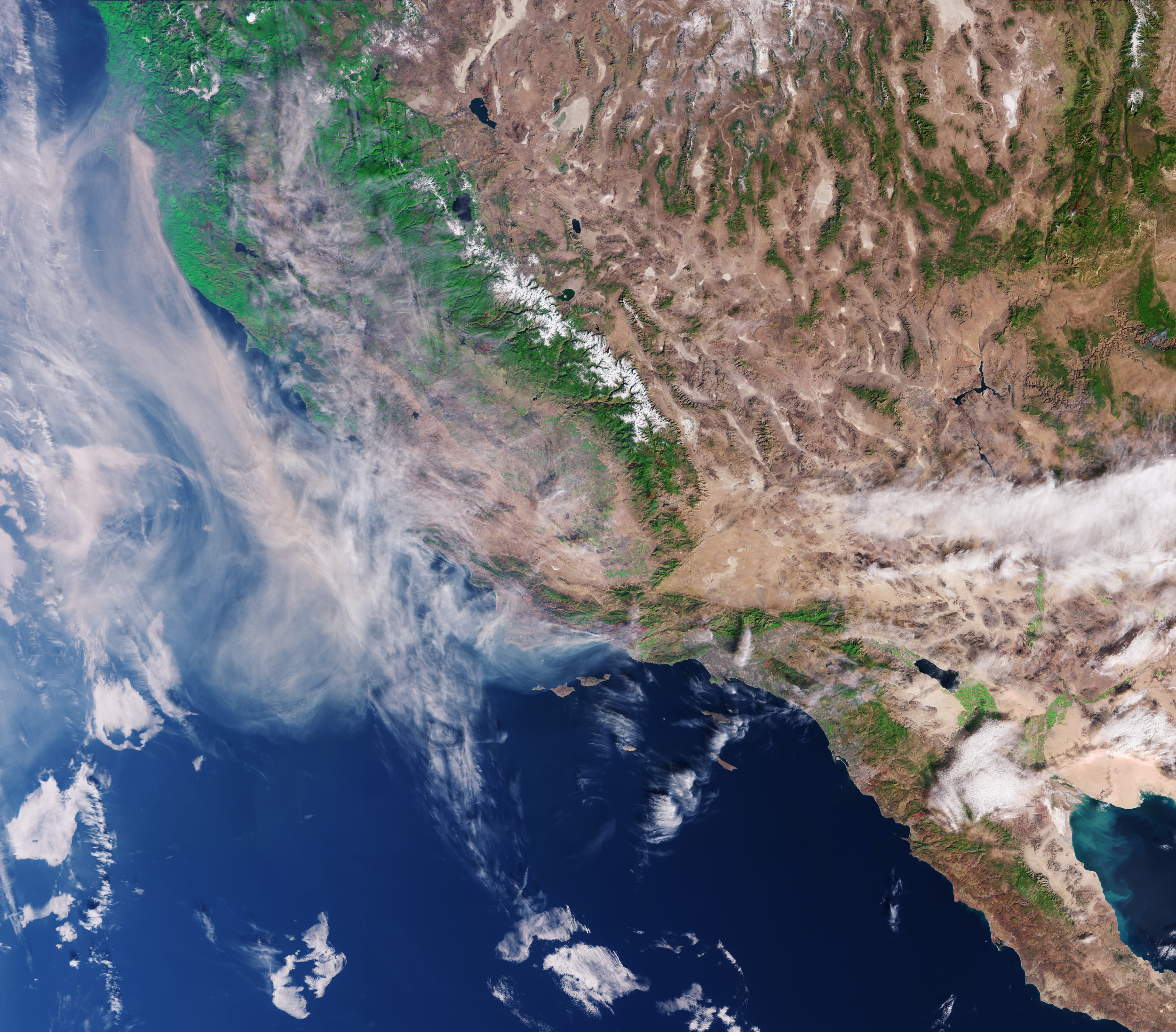 The Copernicus Sentinel-2 mission also captured images of California's wildfires last December.