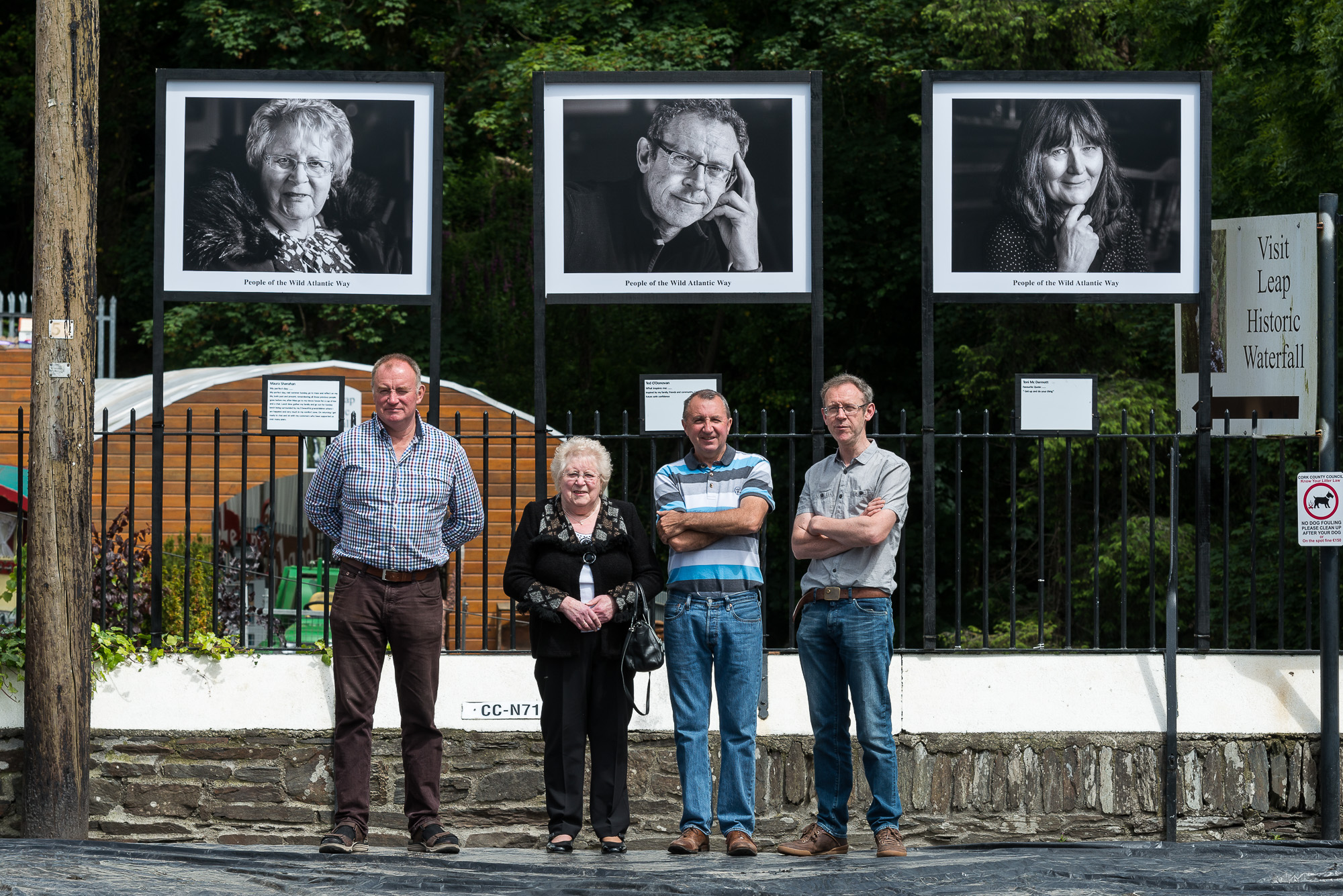 Portraits of people from Leap in West Cork being displayed in the town.