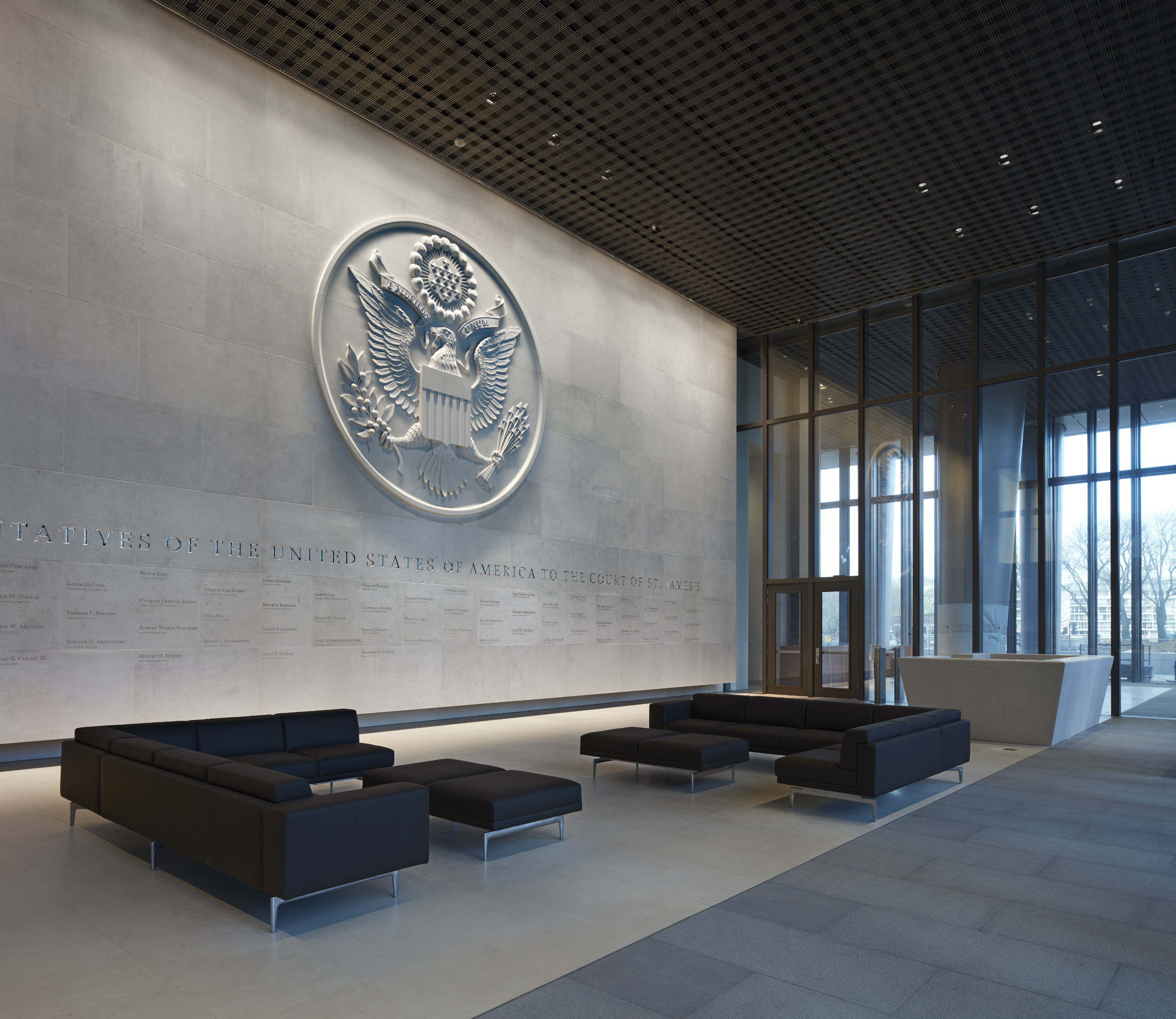 The main lobby of the American Embassy in London.