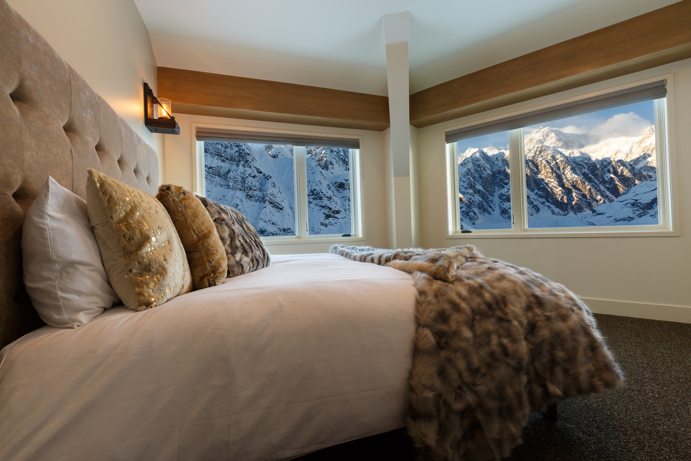 The five-bedroom chalet has panoramic views of the glacier and mountains.