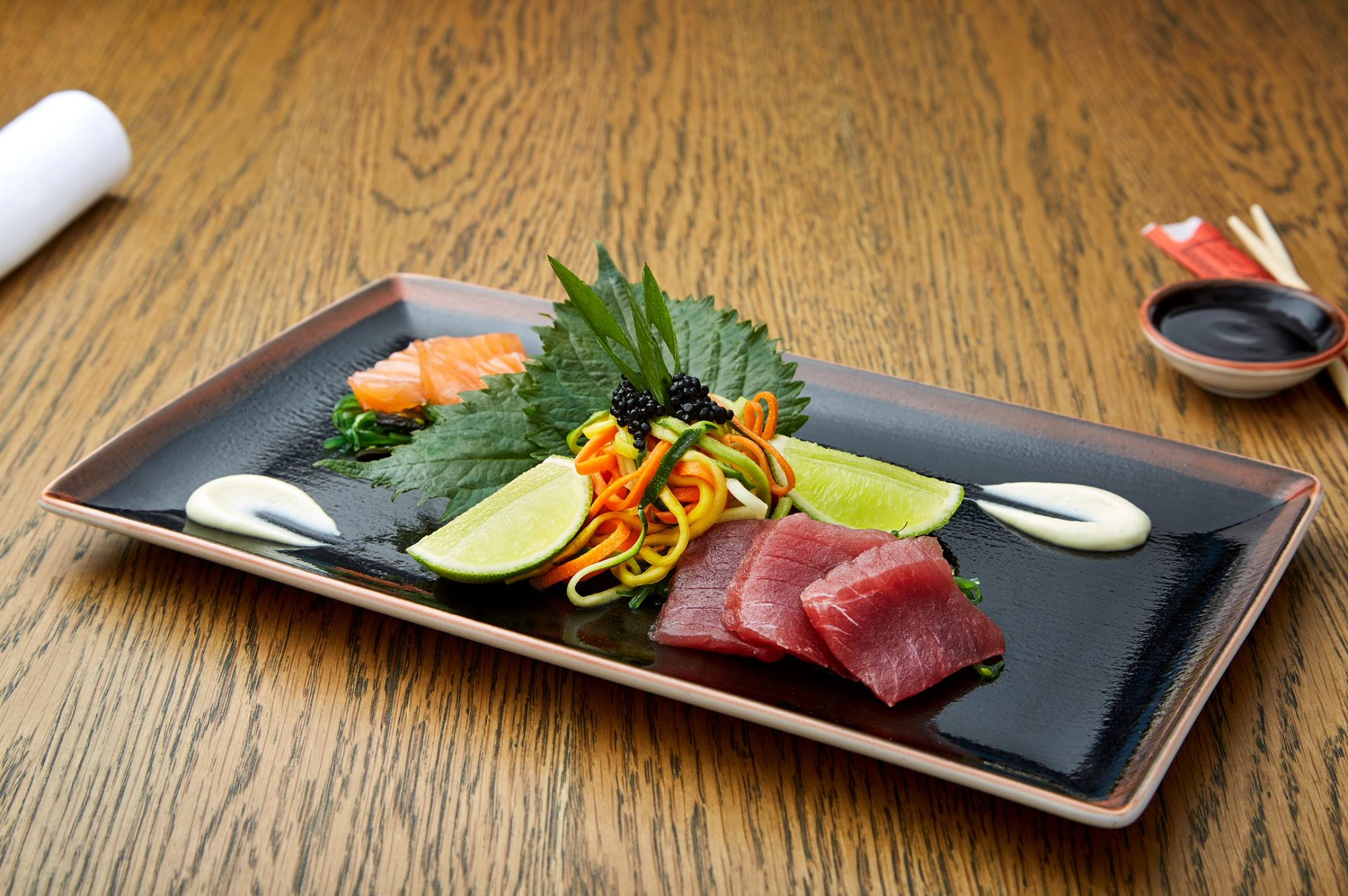Salmon and tuna sashimi from Bowery in Amsterdam Schipol Airport.