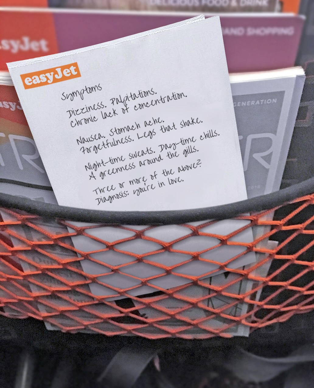 The competition encourages passengers to pen heartfelt lines on the sick bags provided.