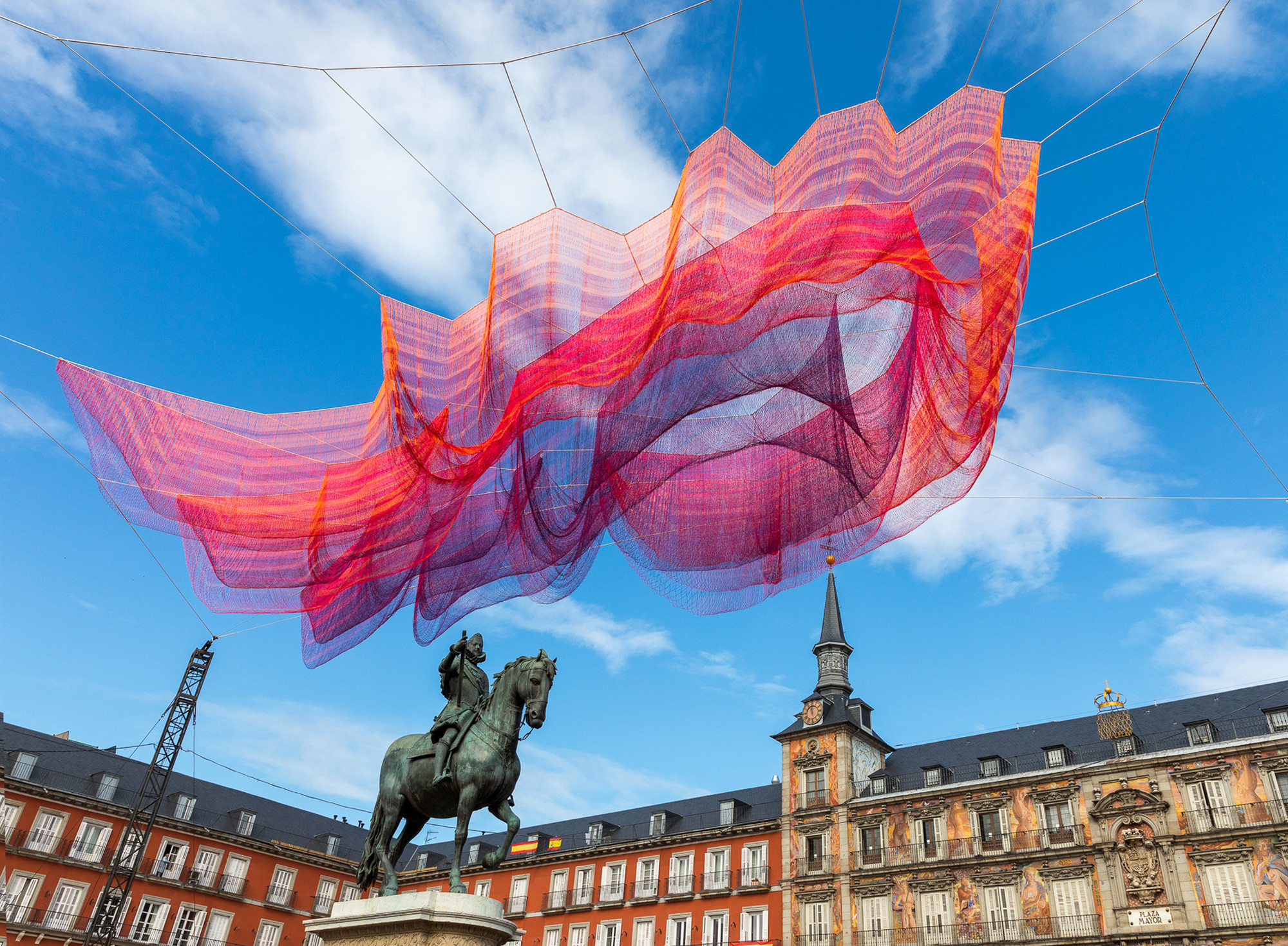 1.78 Madrid suspended above Plaza Mayor.