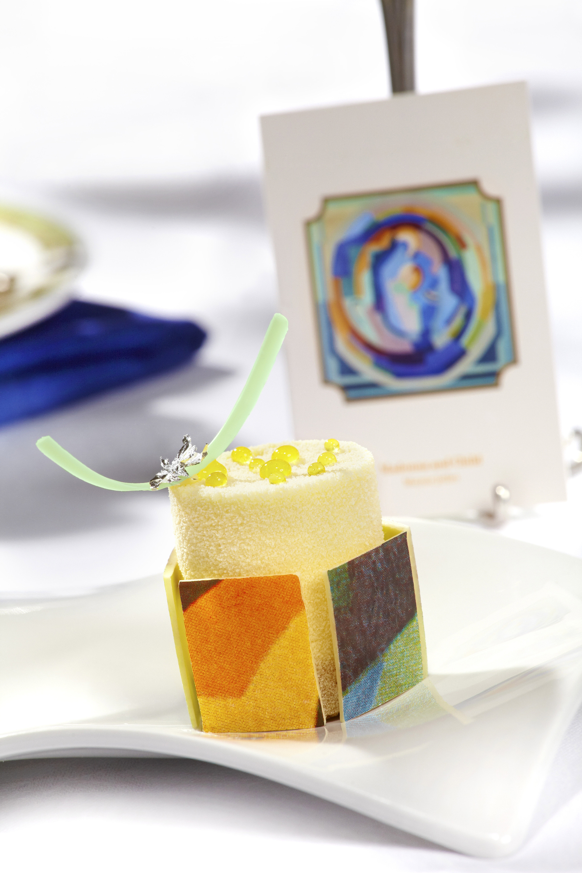 Passion fruit and Orange Cheesecake inspired by Madonna and Child by Mainie Jellet.
