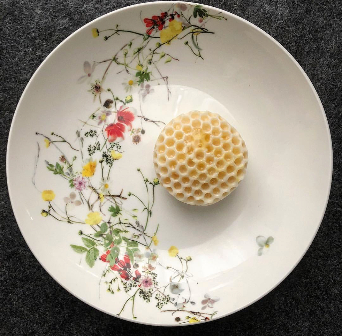 A honeycomb dish inspired by the food of Mendl's from The Grand Budapest Hotel.