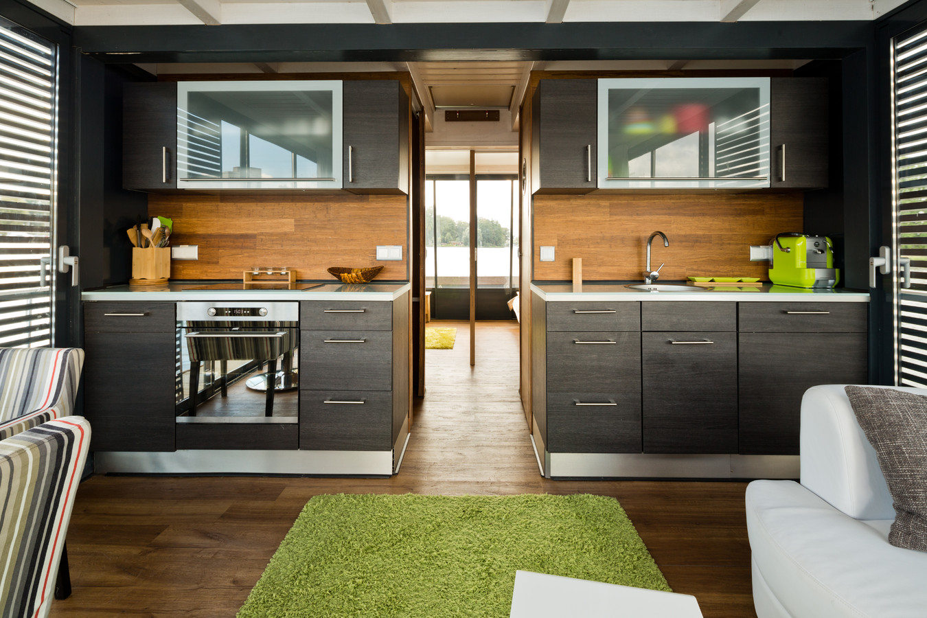 The bright and modern interior of the Nautilus houseboat.
