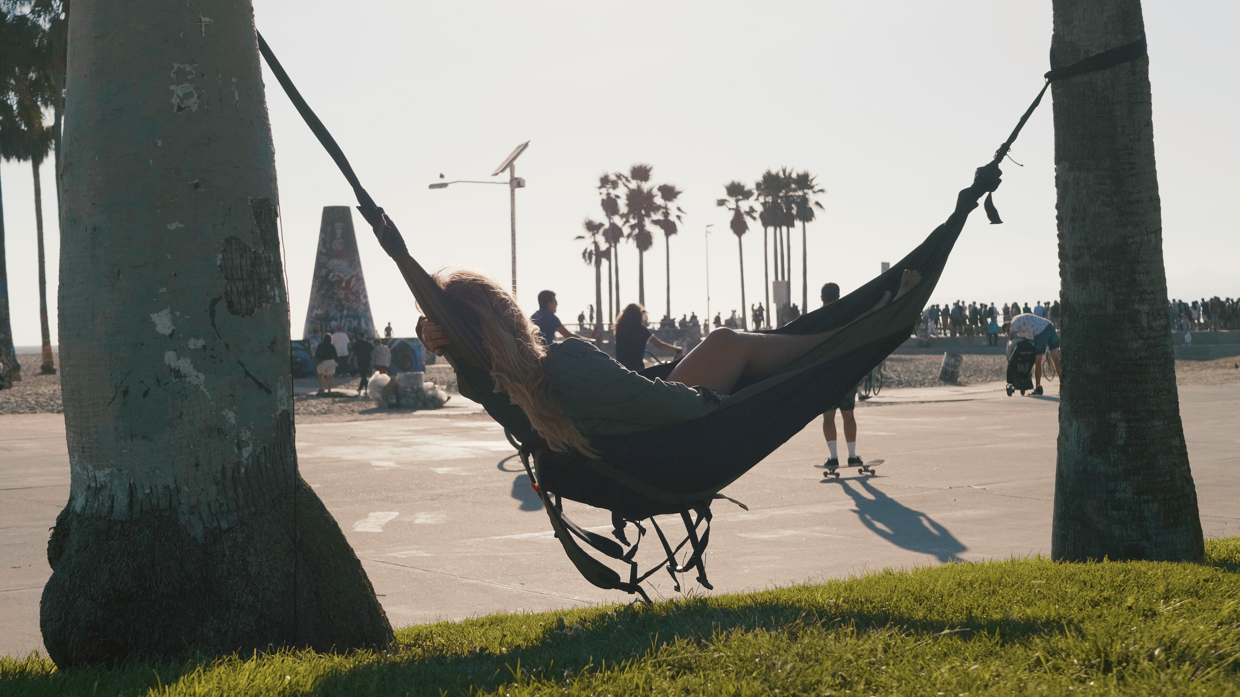 The Nomad Hammock follows an origami-style, foldable design.