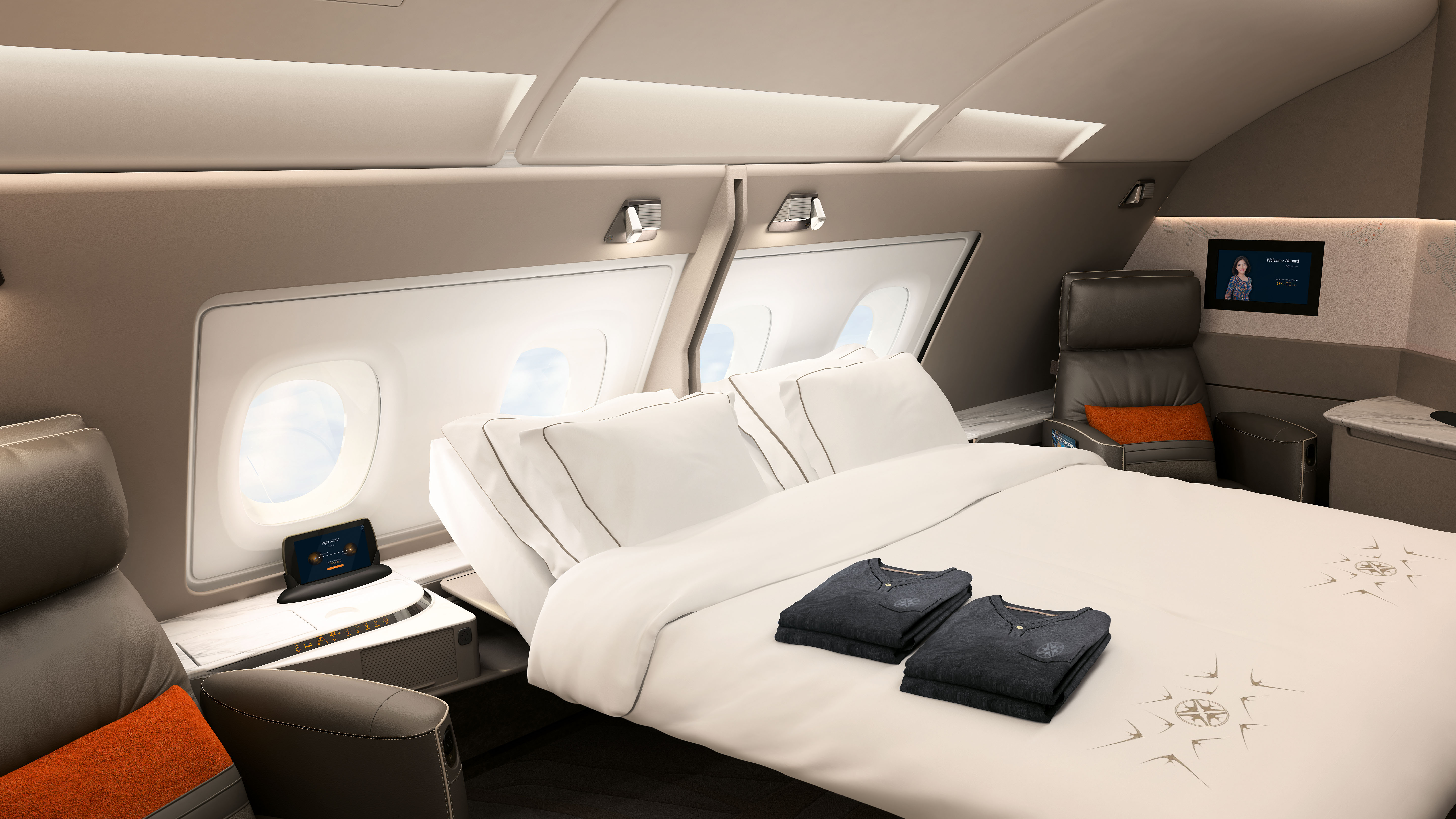 Singapore Airlines' A380 suite, featuring removable walls and double beds.