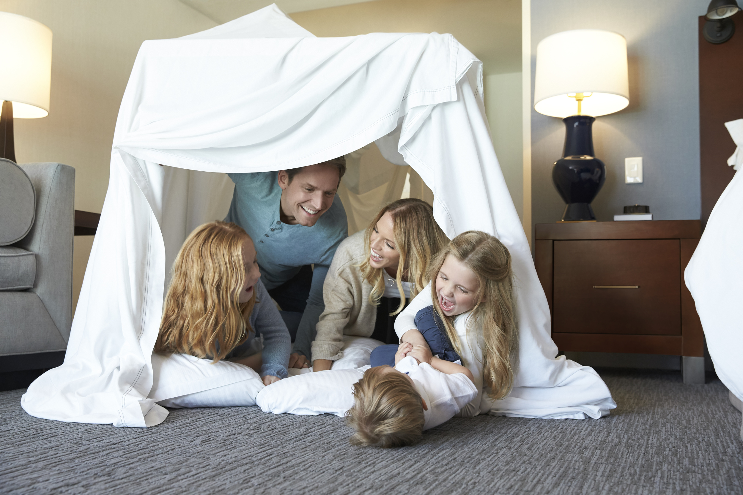 Families can make blanket forts in their rooms as part of the offer.
