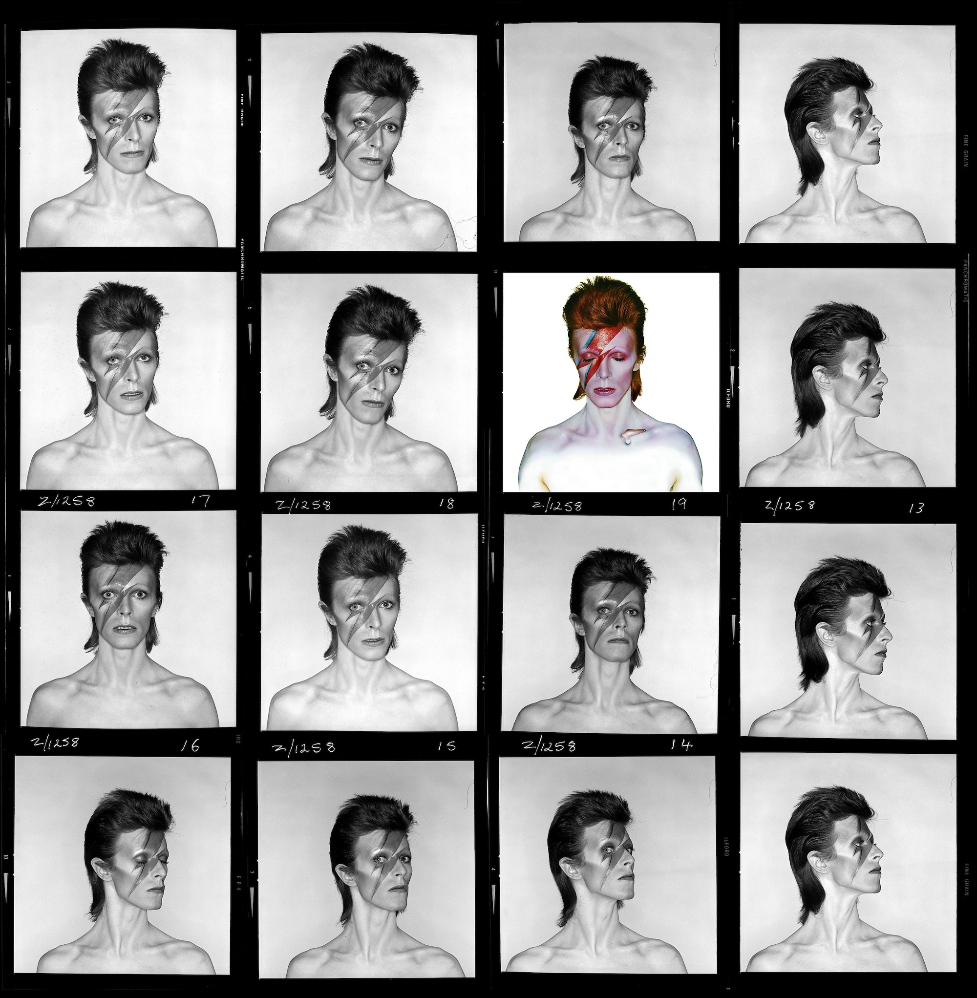 Aladdin Sane contact sheet, 1973.