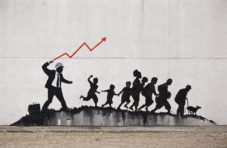 One of street artist Banksy's new Brooklyn murals