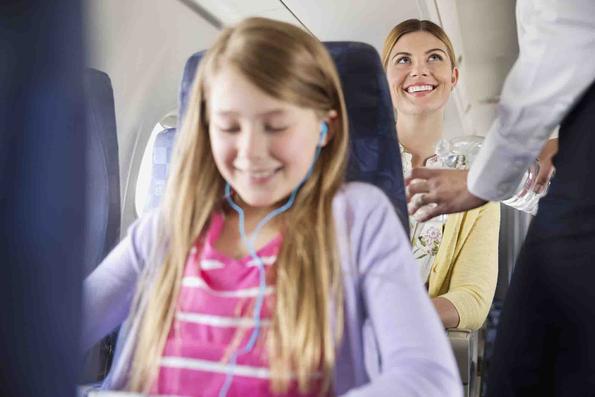 Drink water while flying to avoid dehydration