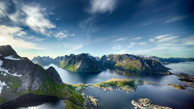 Panoramic view of Reine, Lofoten, Norway