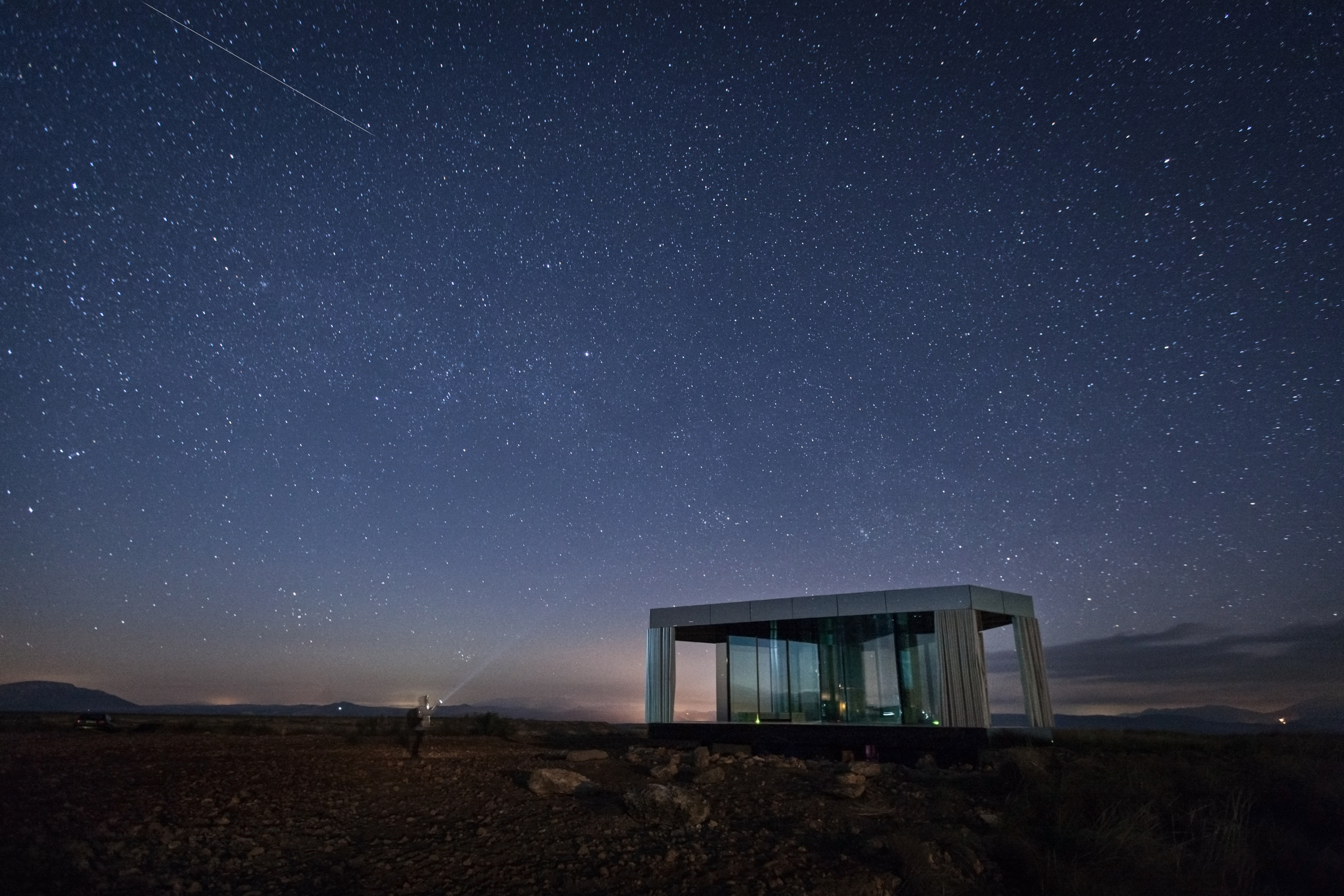 Visitors can gaze up at the stars from the bedroom in the small house.