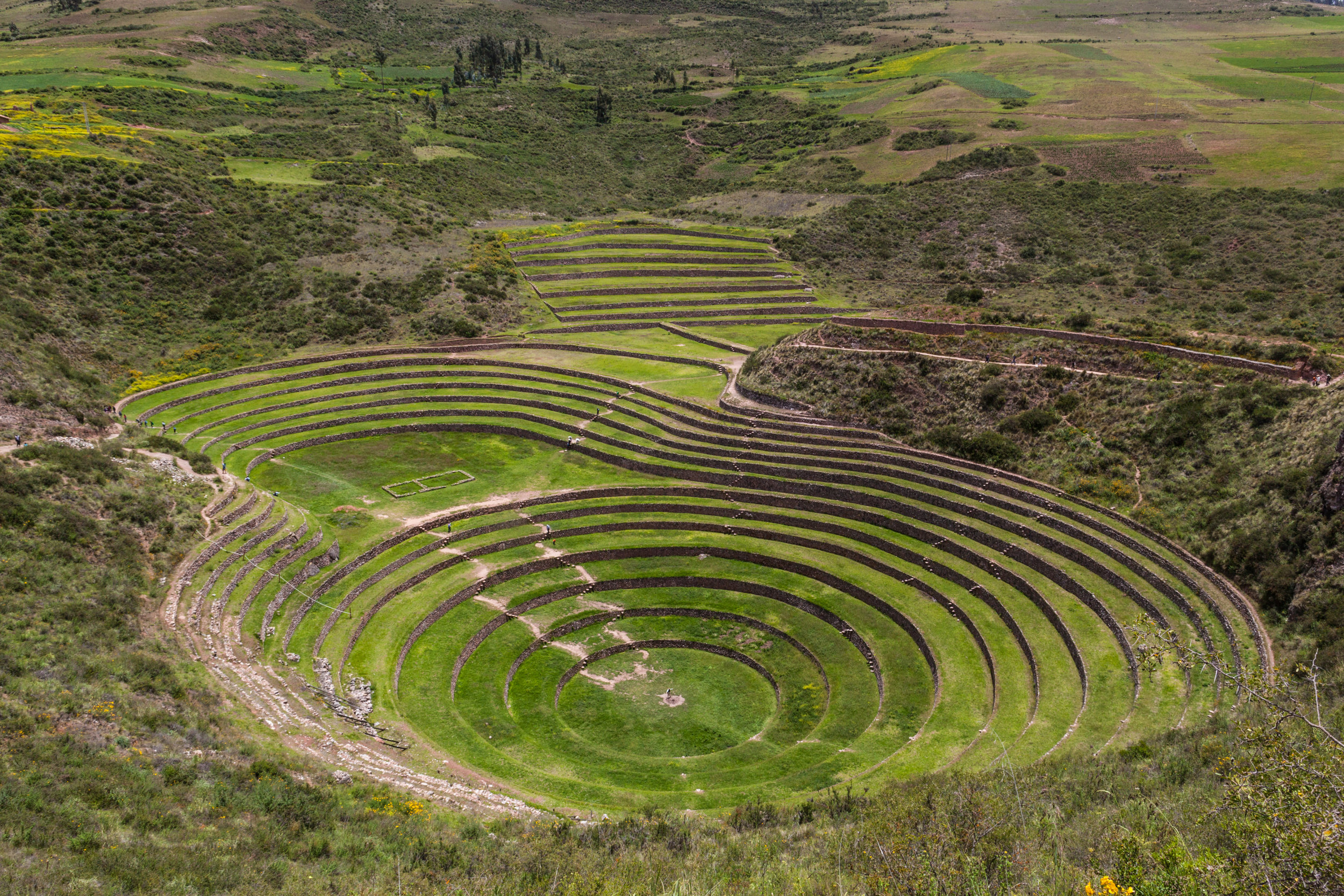 The restaurant looks out over the ancient archaeological site of Moray in The Sacred Valley.