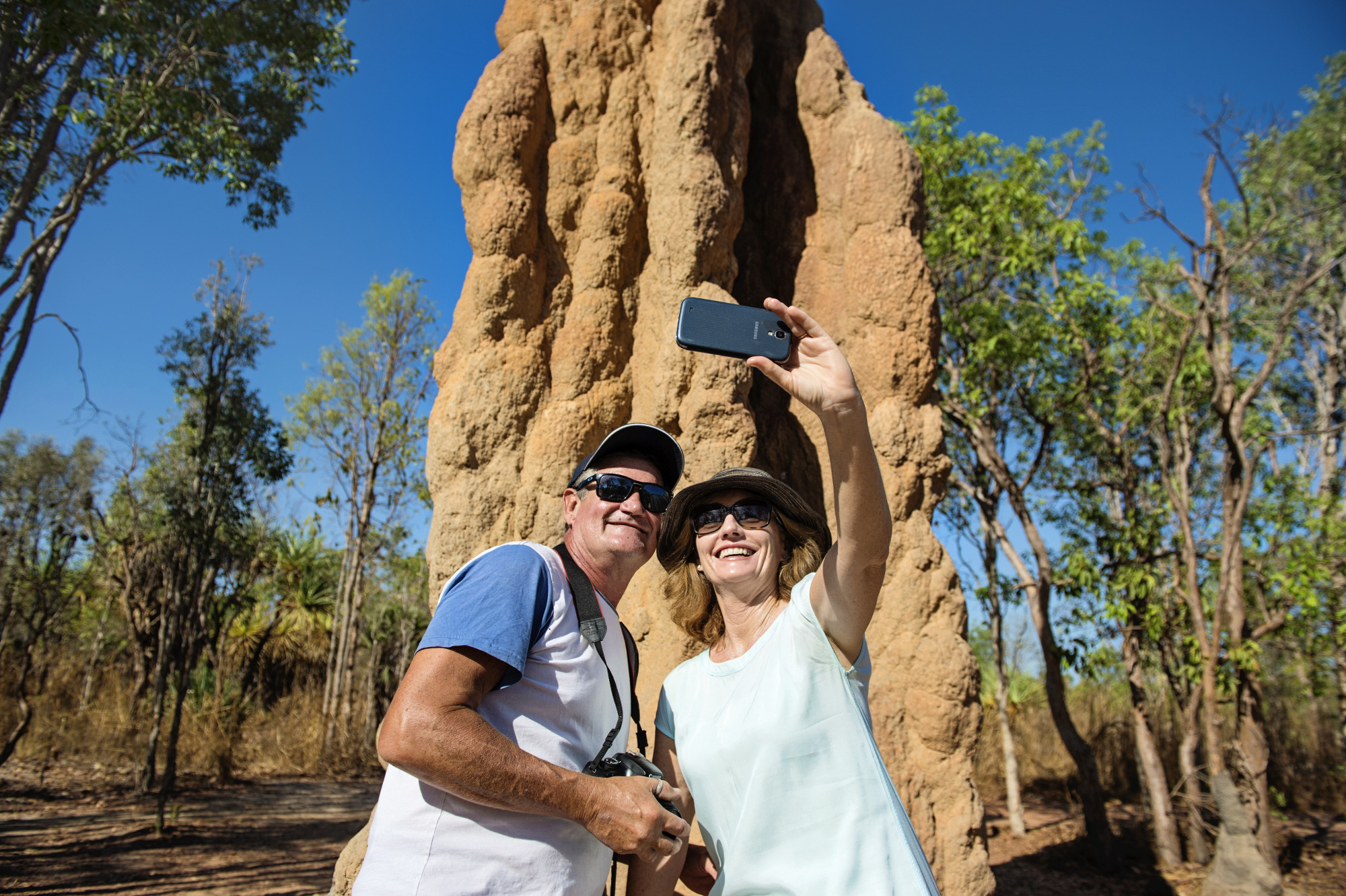 Couple taking a selfie at the Termite Mounds