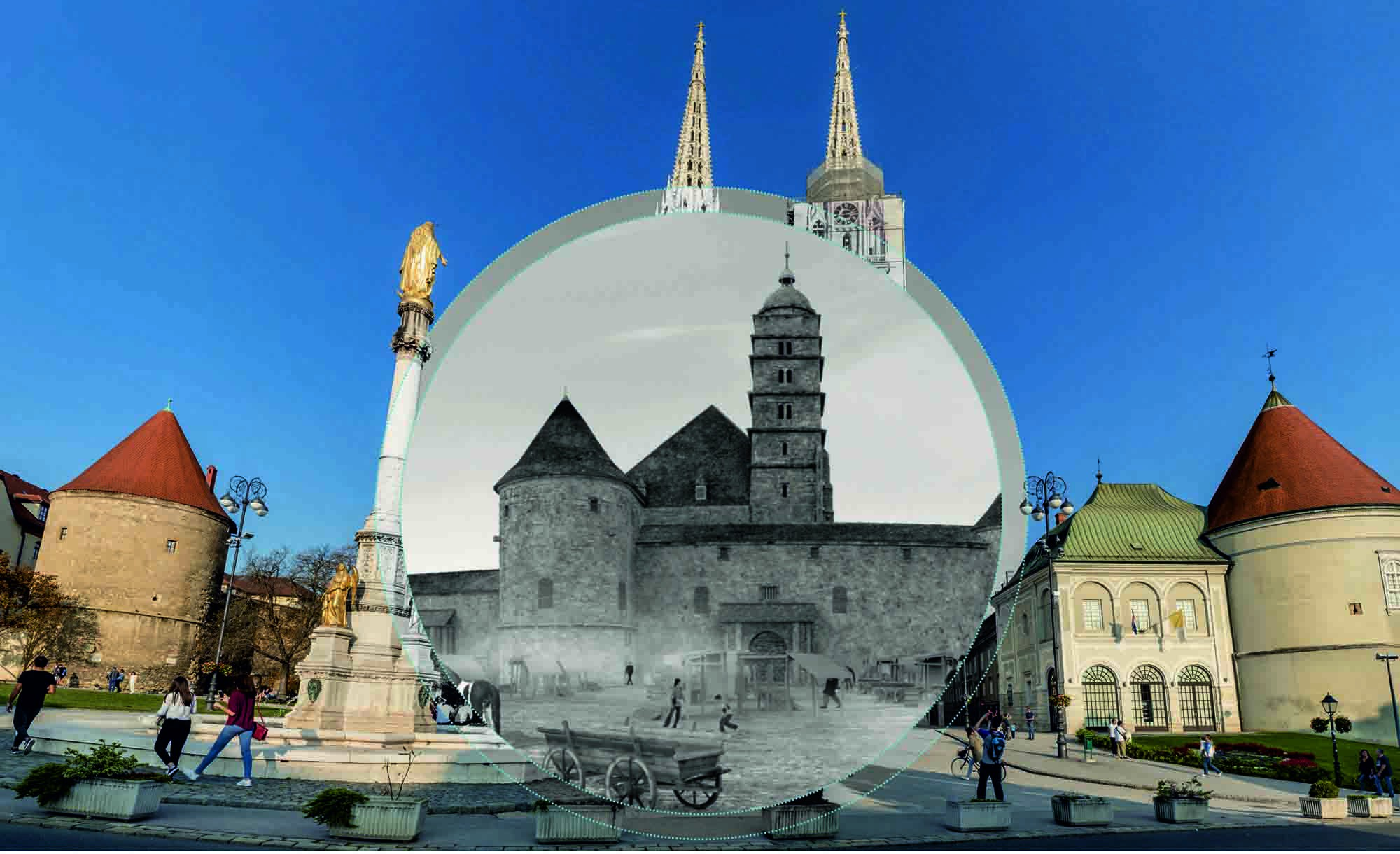 The cathedral in Zagreb, viewed through the VR Pole