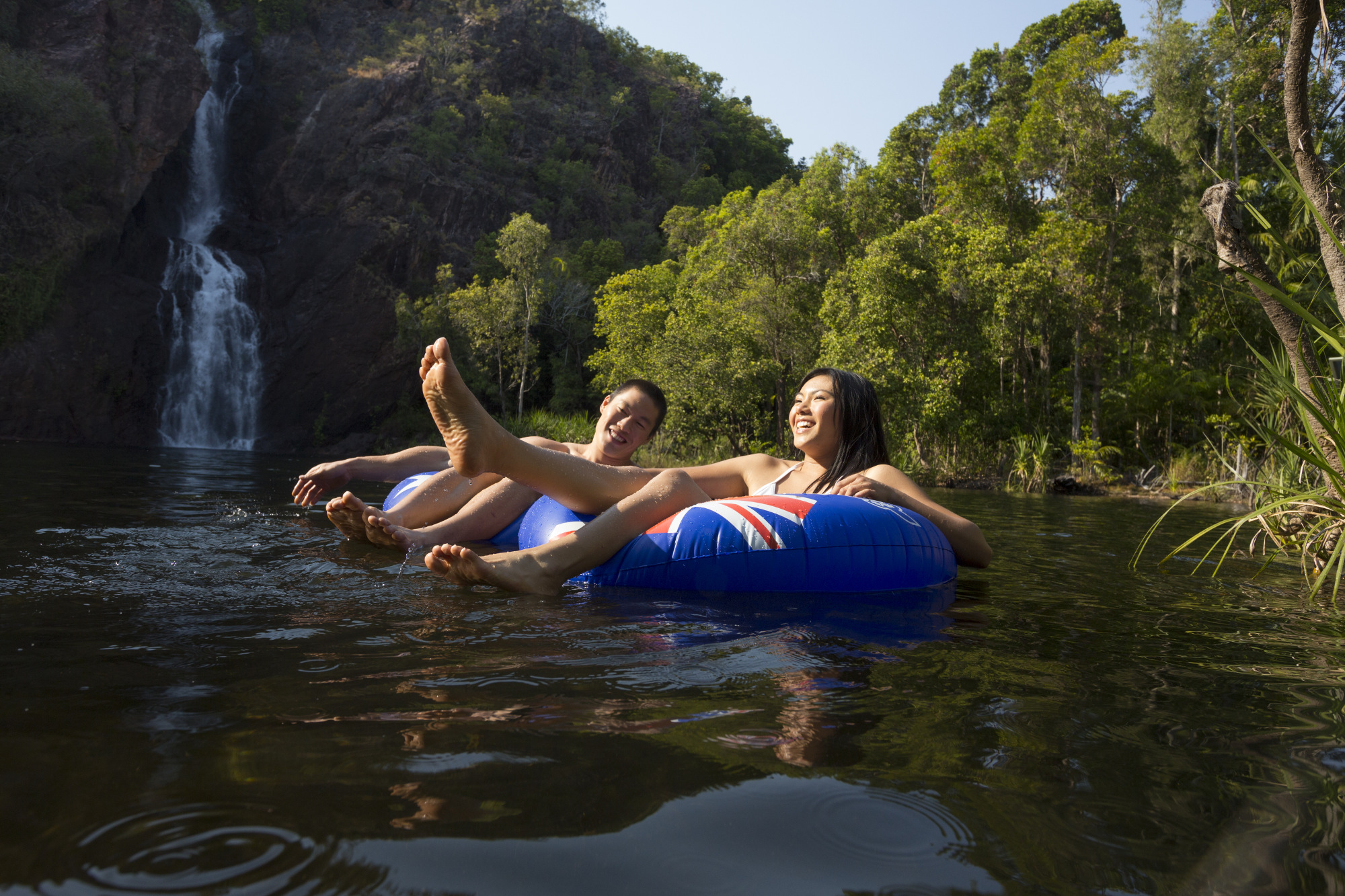 Visitors relax at Wangi Falls