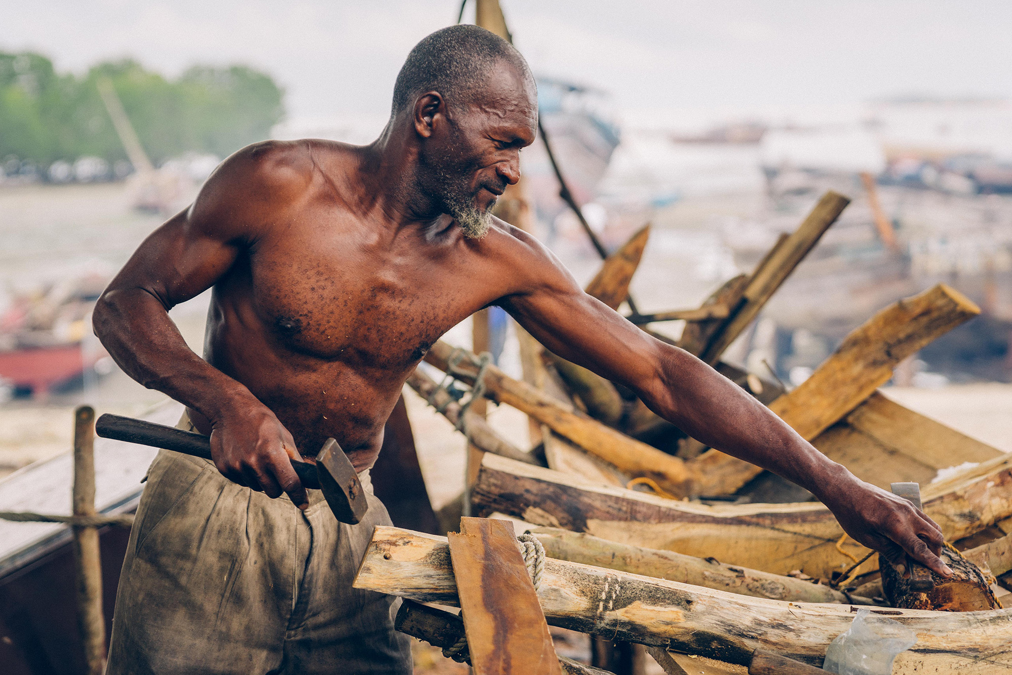 A traditional boat builder in Zanzibar
