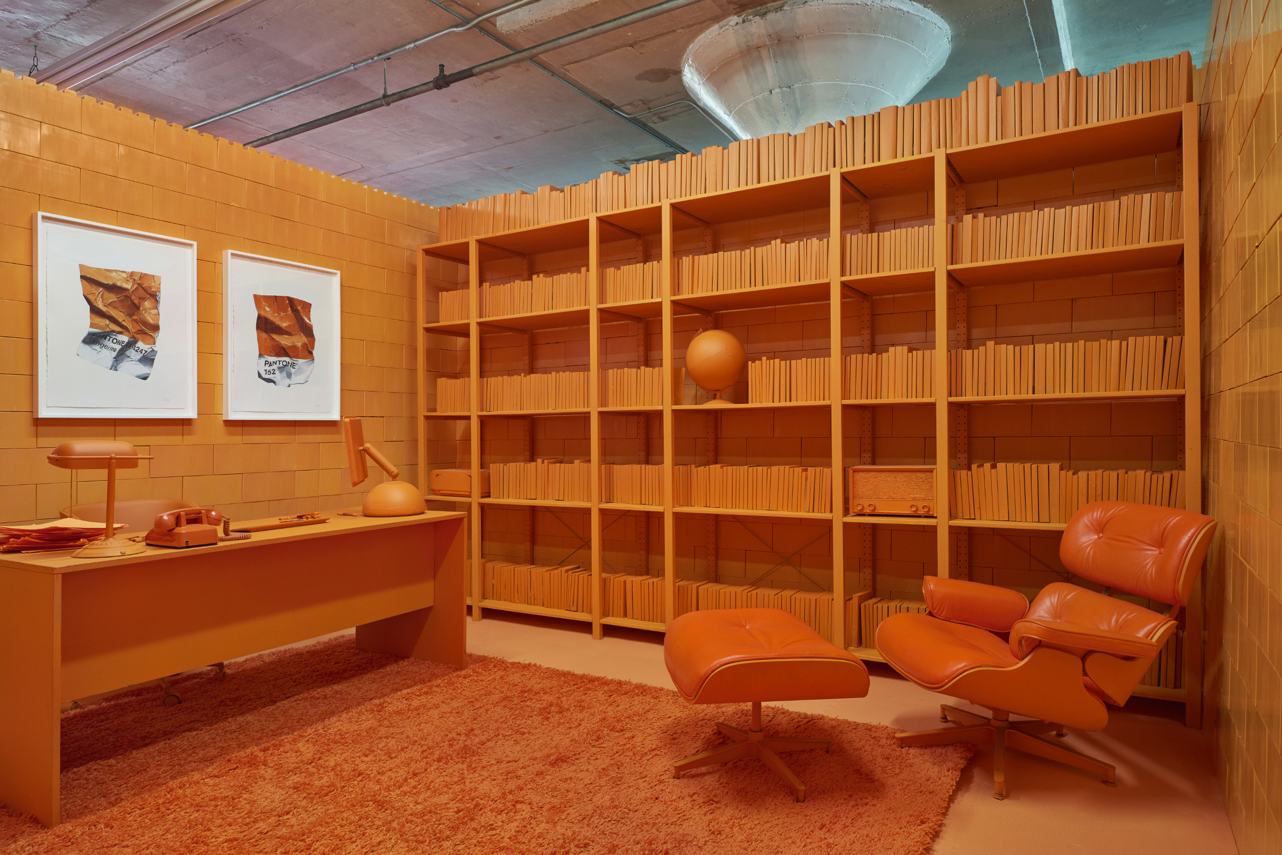 The orange room at Monocrhome in New York City.