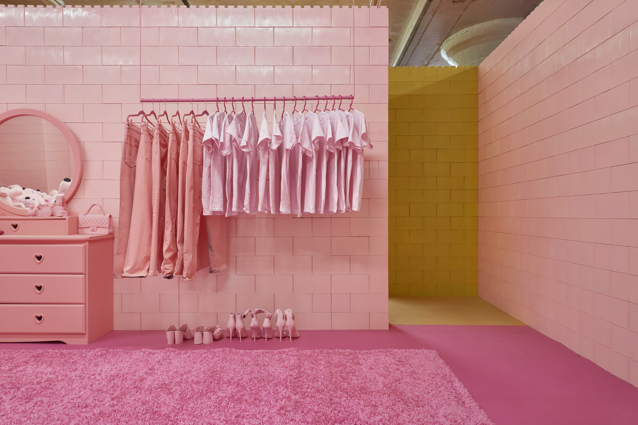 The pink room at the Monochrome exhibition.