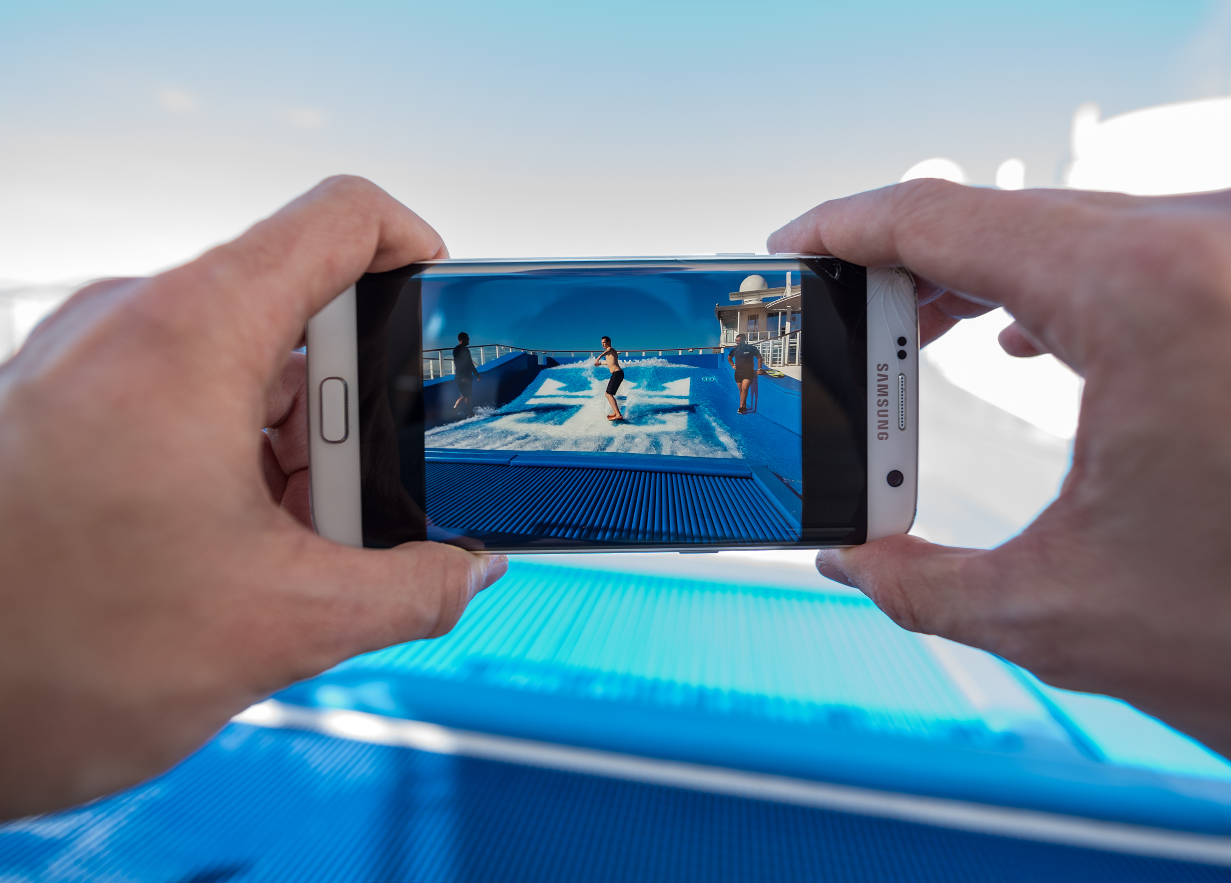 The FlowRider on the cruise ship being photographed.