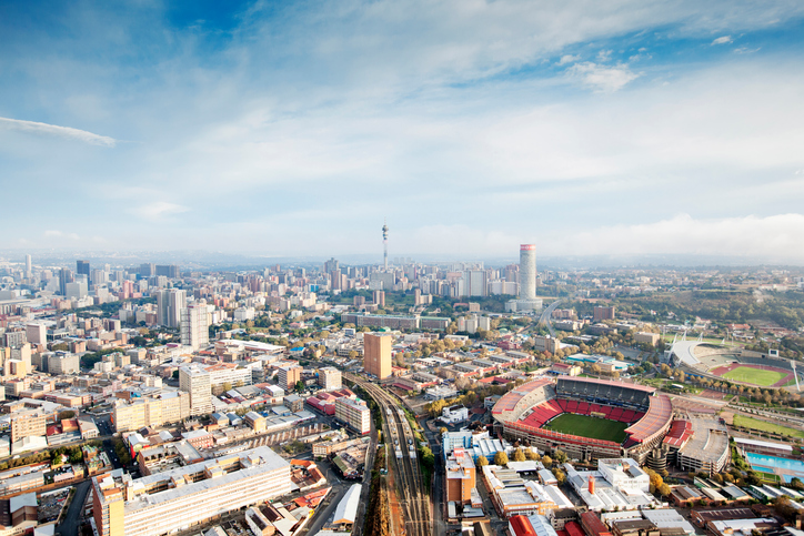 Skyline of Johannesburg with Ellis park stadium, Gauteng Province, South Africa